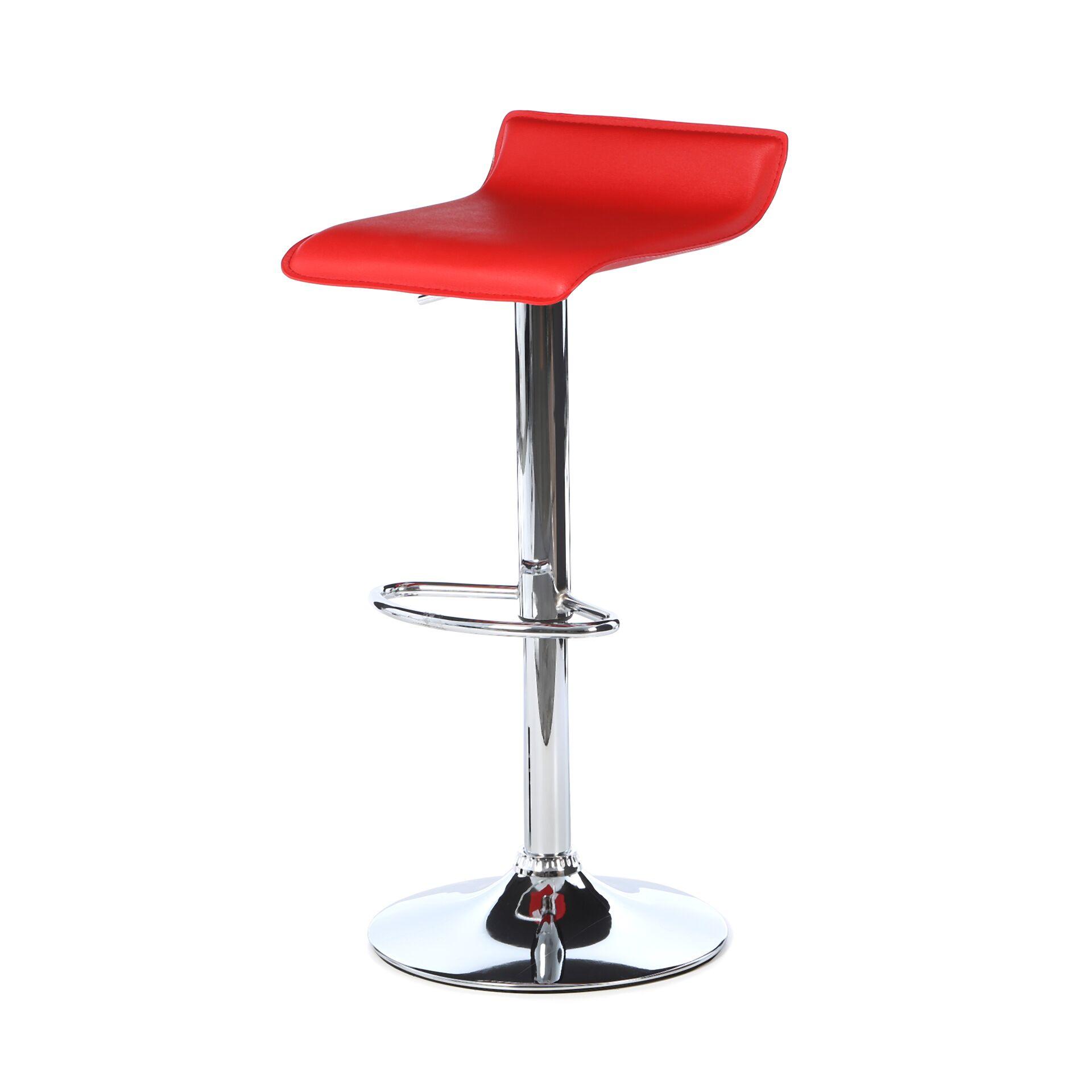 Wimberley Adjustable Height Swivel Bar Stool Upholstery: Red