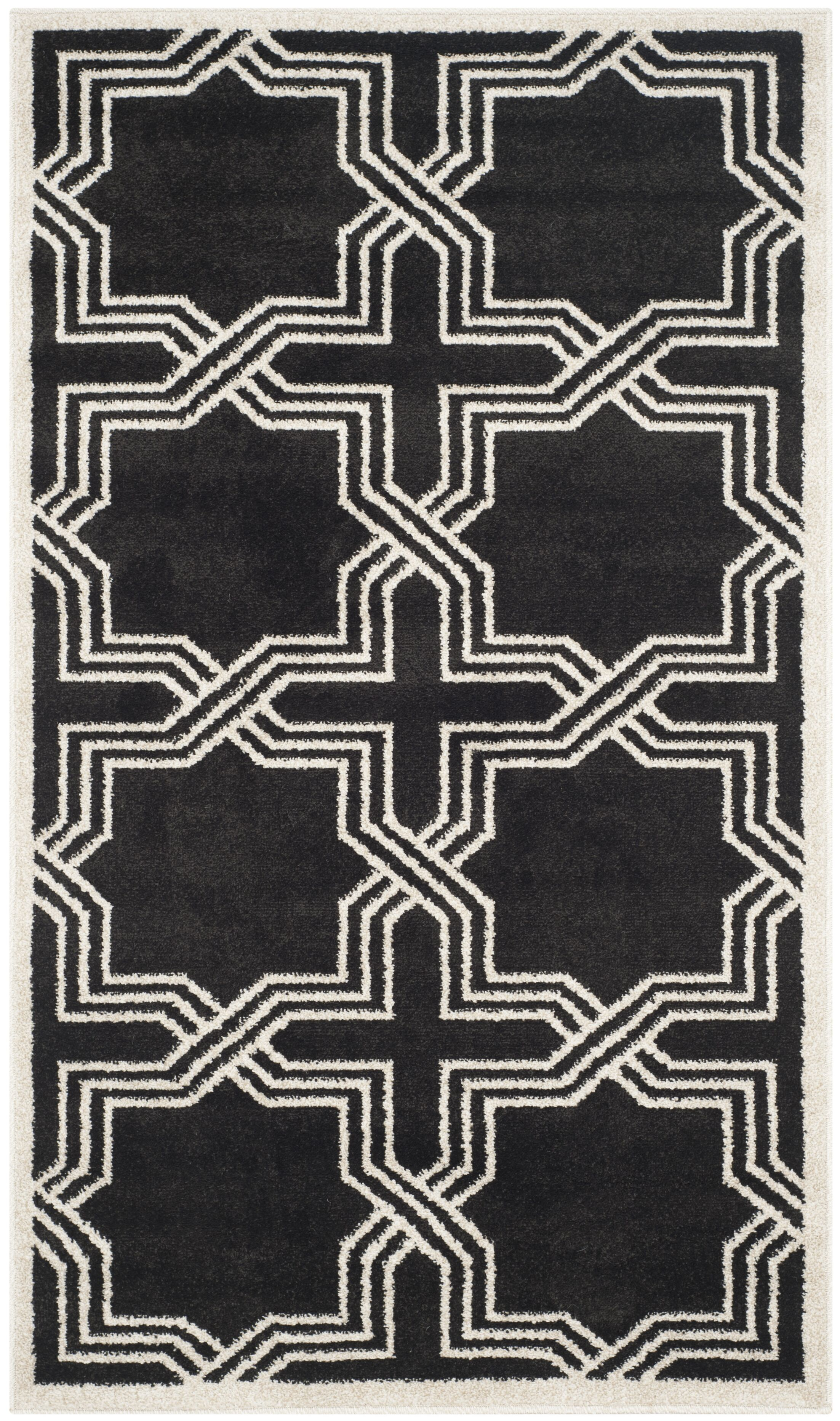 McArthur Black/Ivory Indoor/Outdoor Area Rug Rug Size: Rectangle 4' x 6'