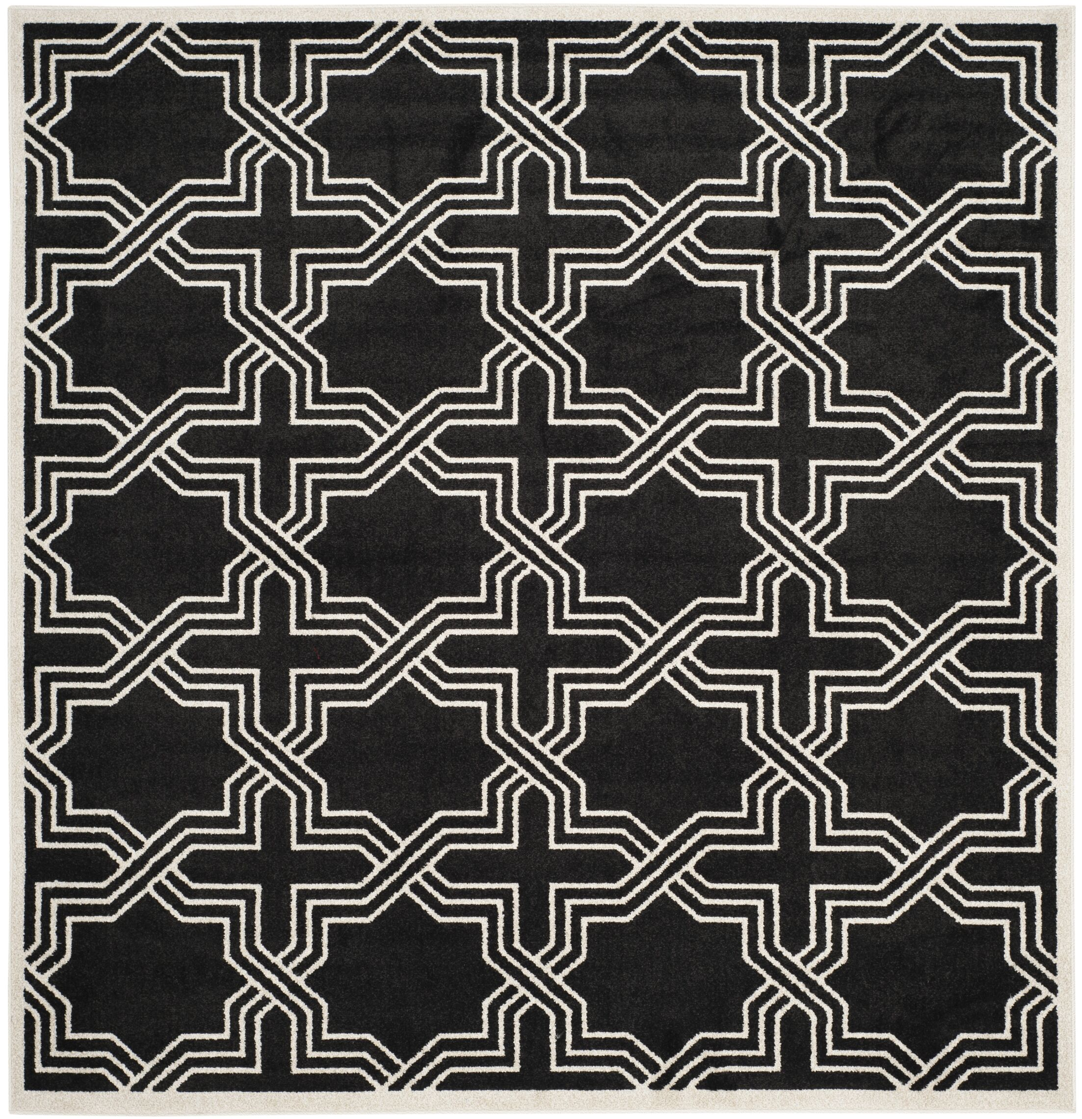 McArthur Black/Ivory Indoor/Outdoor Area Rug Rug Size: Square 7'