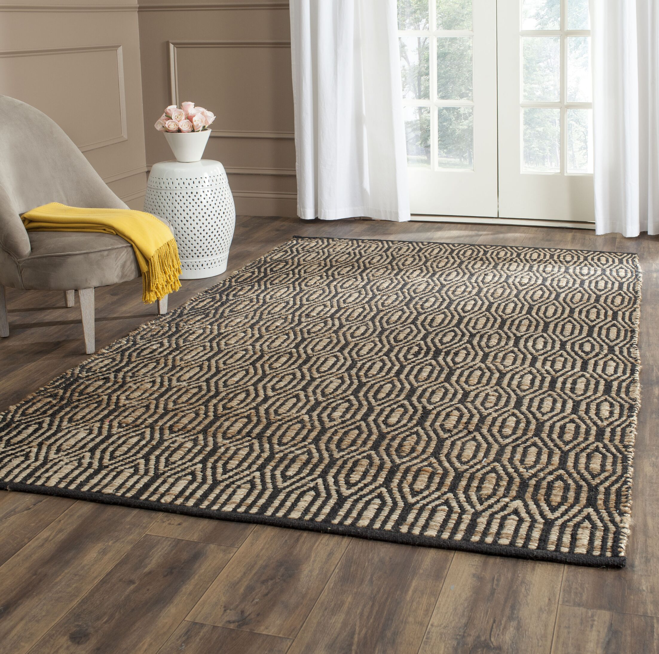 Astor Place Hand-Woven Black/Natural Area Rug Rug Size: Rectangle 9' x 12'