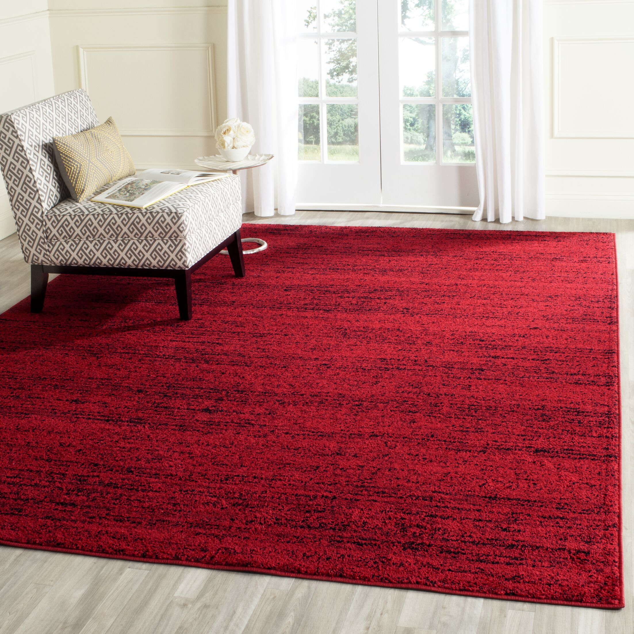 Connie Red/Black Area Rug Rug Size: Rectangle 2'6