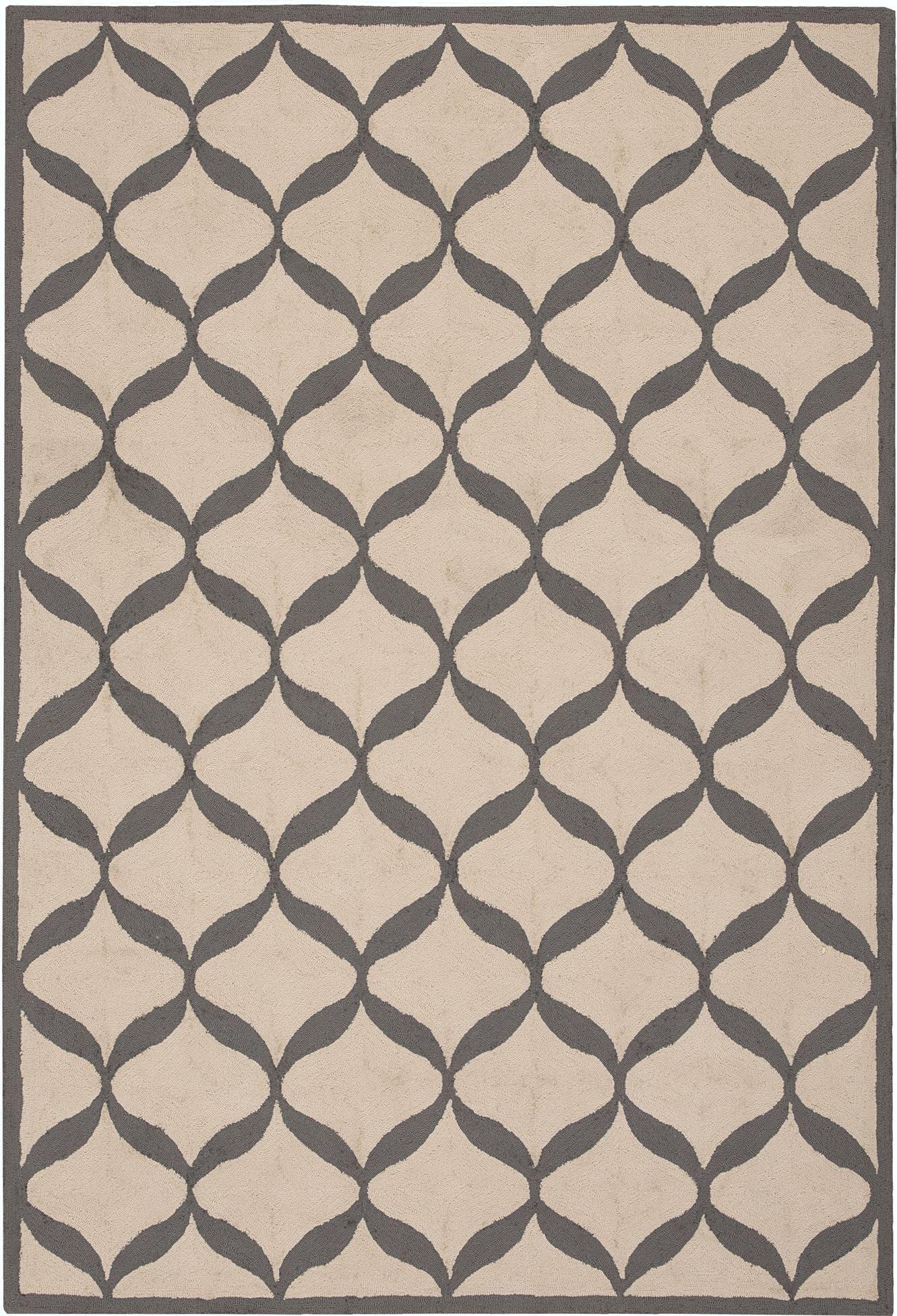 LaGuardia Hand-Tufted White/Light Gray Area Rug Rug Size: Rectangle 5' x 7'