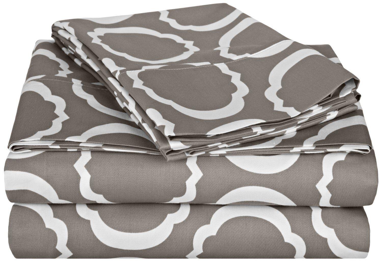 Hewson 600 Thread Count Cotton Sheet Set Size: California King, Color: Grey/White