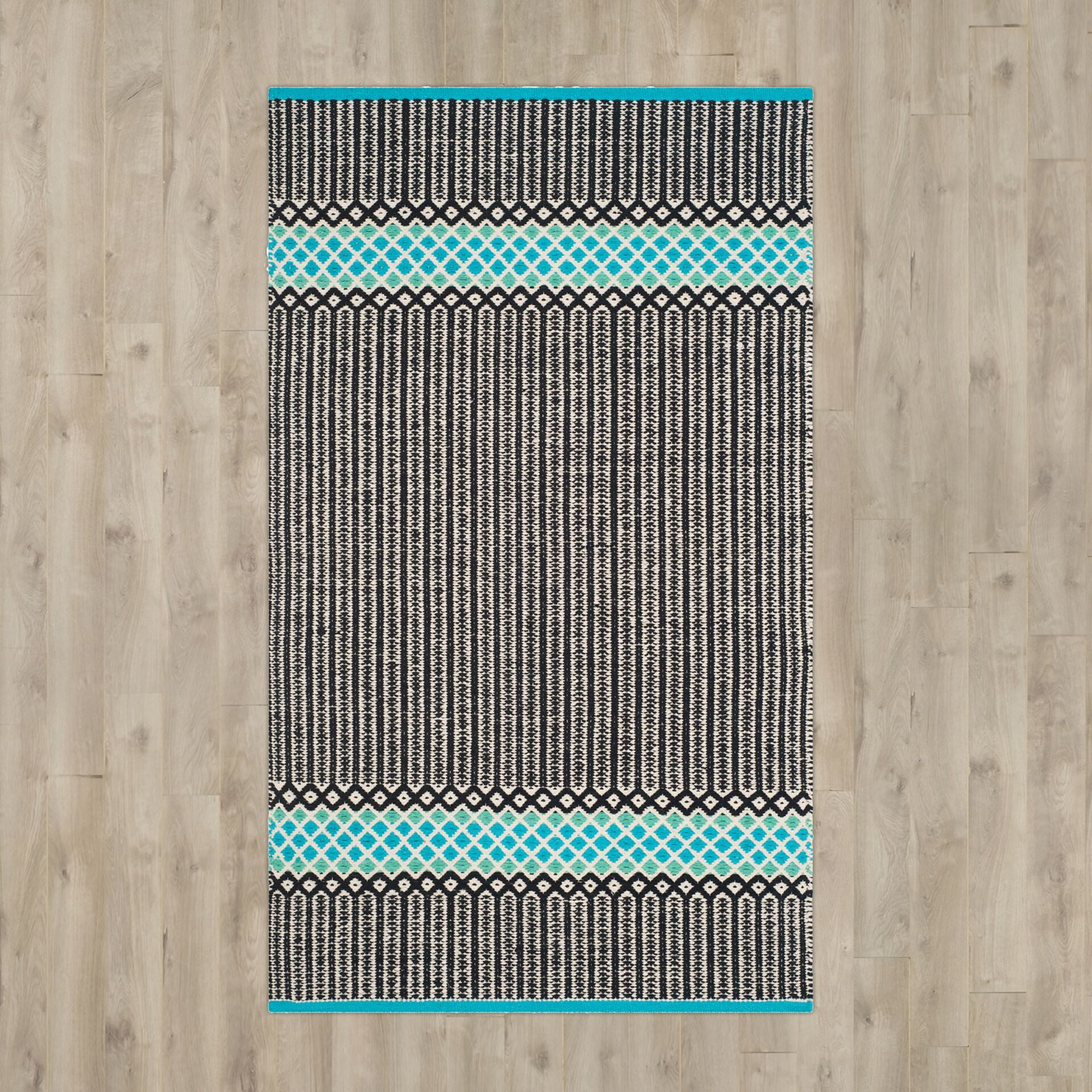 Shevchenko Place Hand-Woven Turquoise Area Rug Rug Size: Runner 2'3