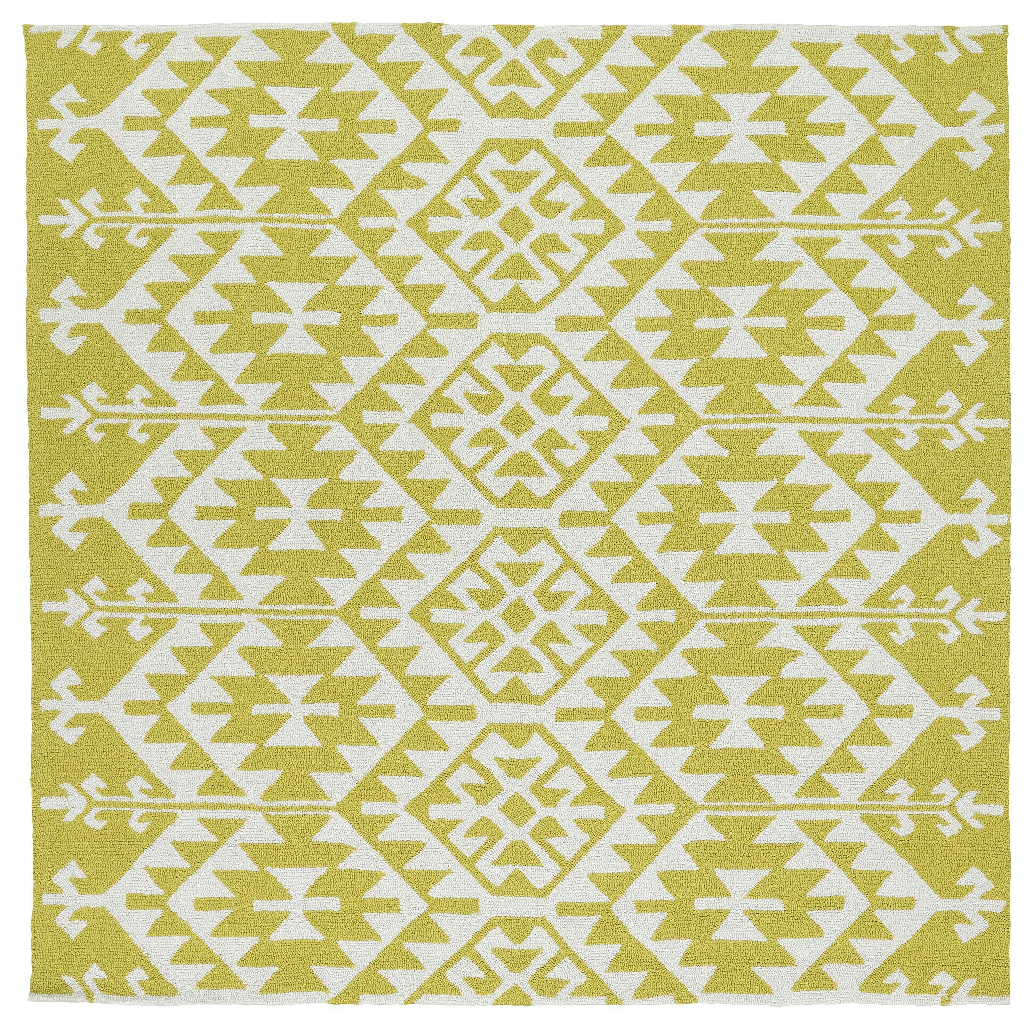 Handmade Wasabi/Ivory Indoor/Outdoor Area Rug Rug Size: Square 7'9