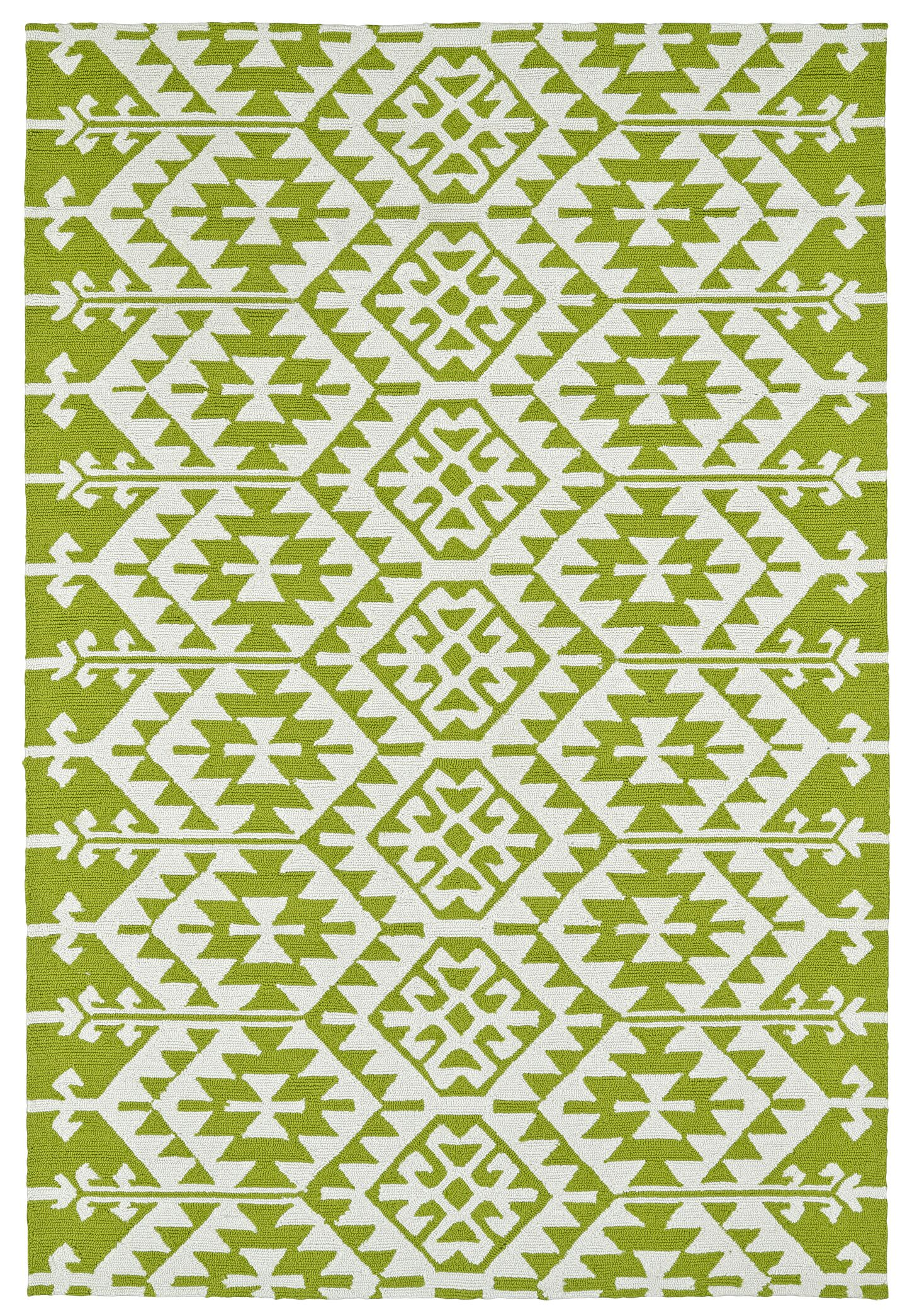 Lime Green/Ivory Indoor/Outdoor Area Rug Rug Size: Rectangle 9' x 12'