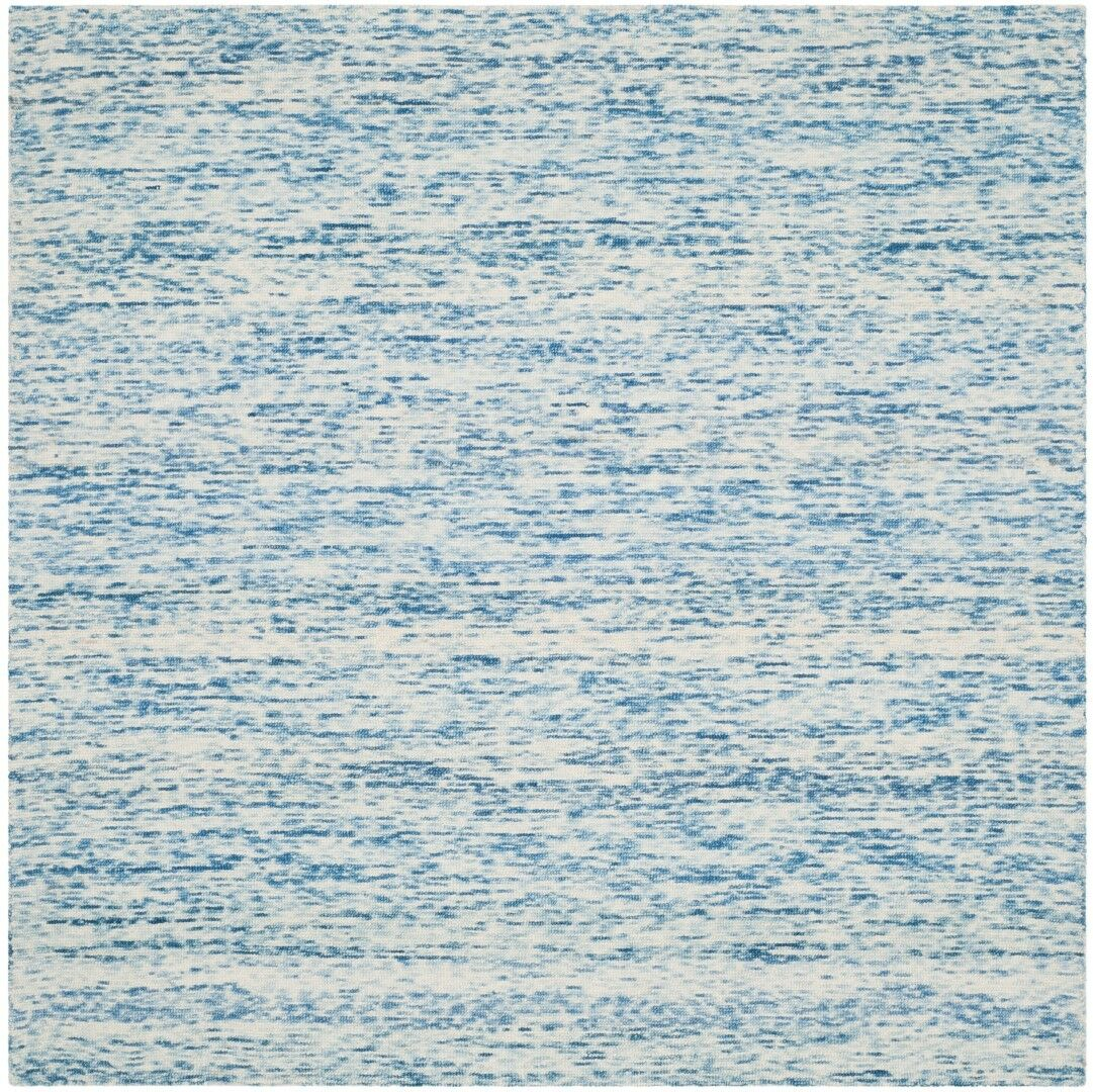 Short Hand-Loomed Blue Area Rug Rug Size: Square 6'