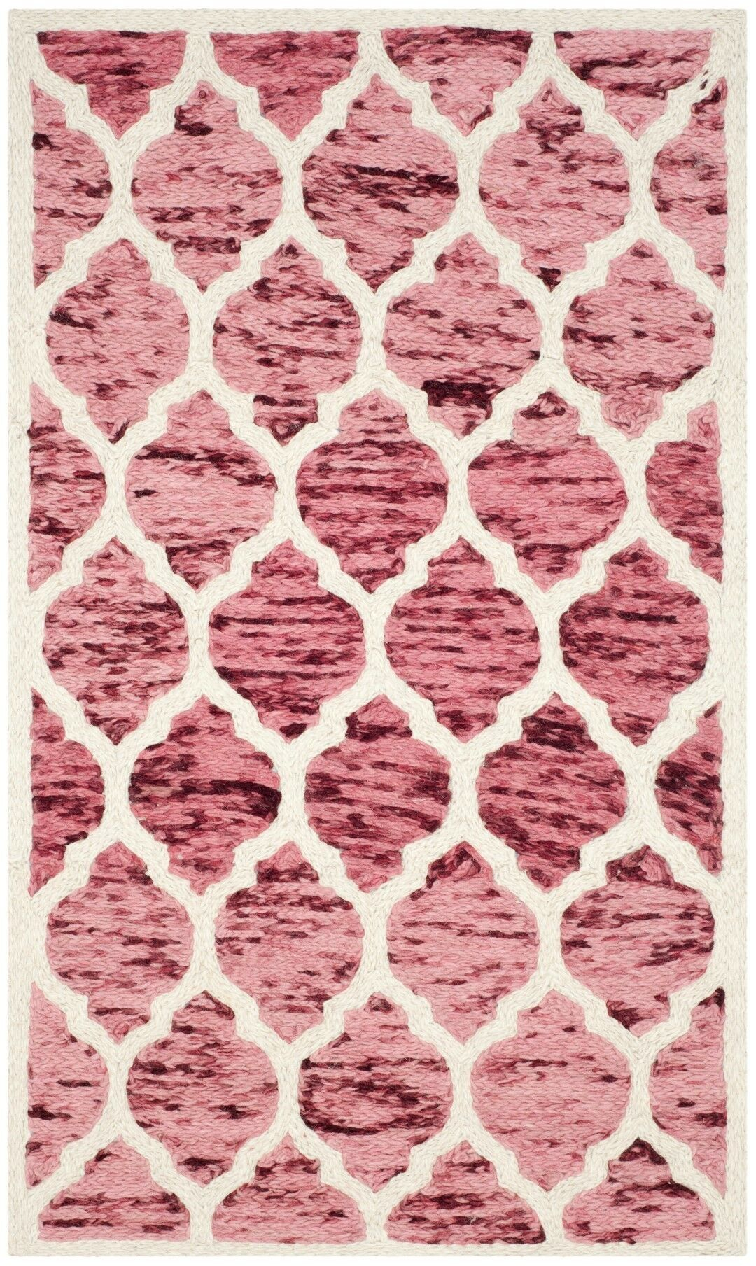 Short Hand-Loomed Red/Ivory Area Rug Rug Size: Rectangle 3' x 5'