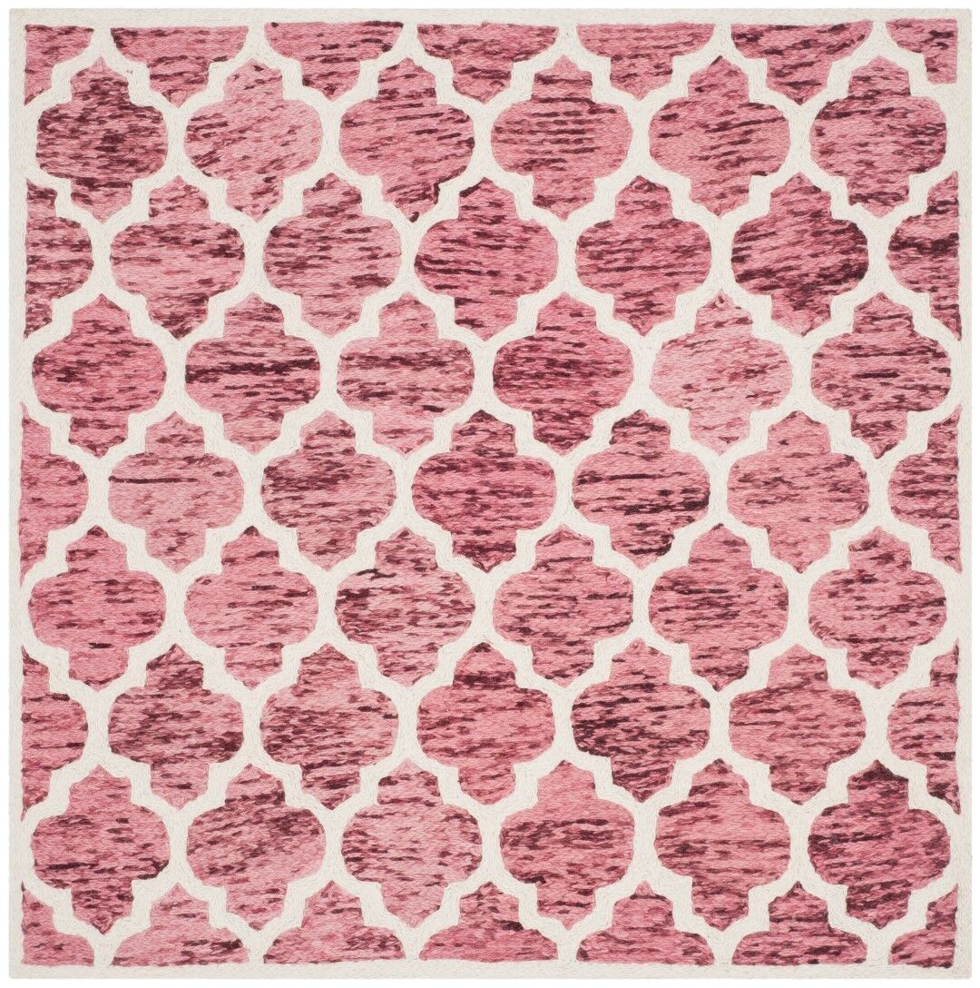 Short Hand-Loomed Red/Ivory Area Rug Rug Size: Square 6'