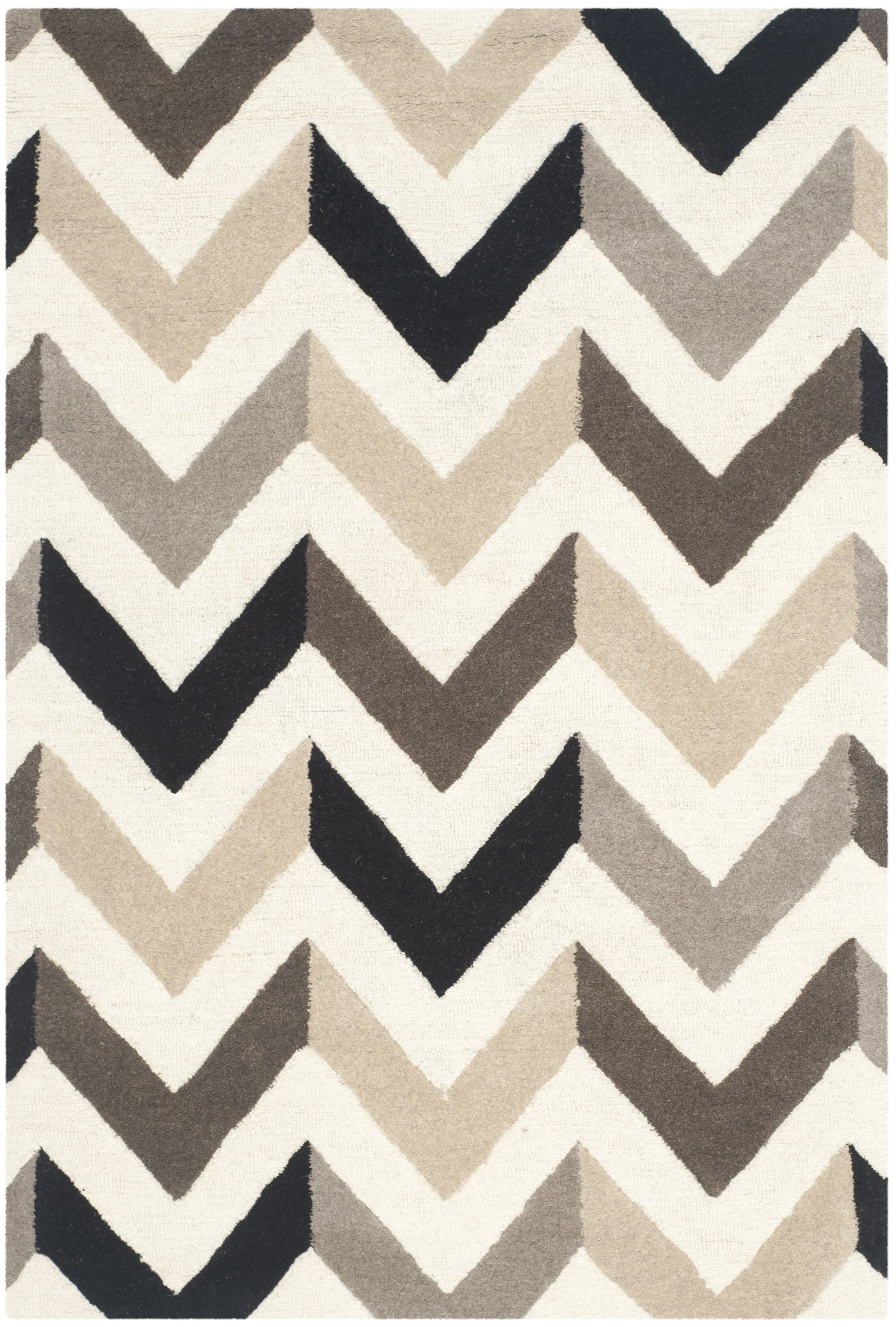 Obrian Hand-Tufted Ivory/Black Area Rug Rug Size: Rectangle 4' x 6'