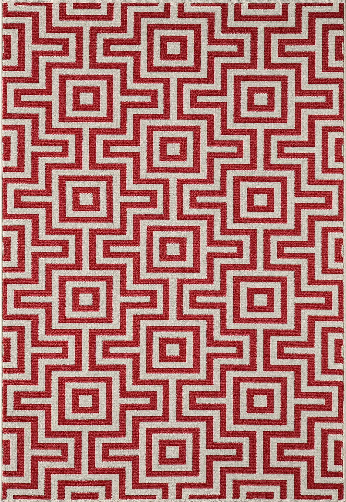 Rahul Hand-Woven Red Indoor/Outdoor Area Rug Rug Size: 5'3