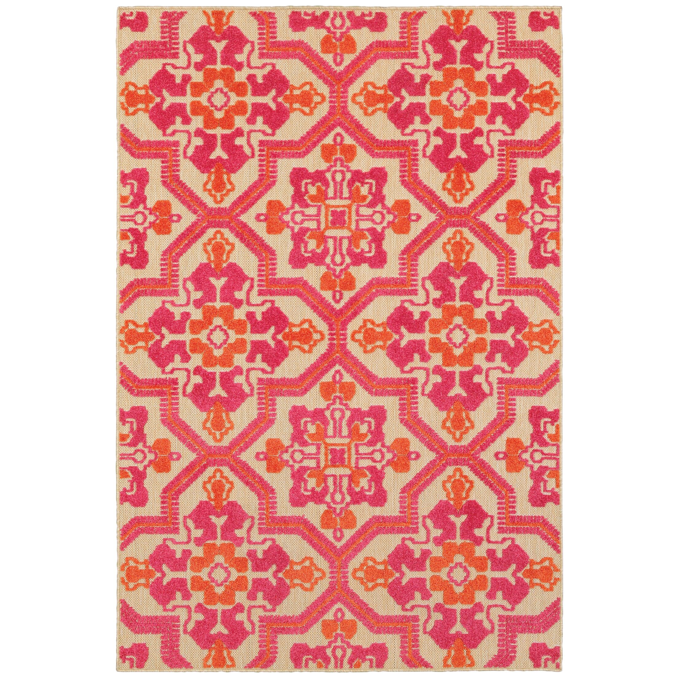 Sawin Sand/Pink Indoor/Outdoor Area Rug Size: Rectangle 5'3