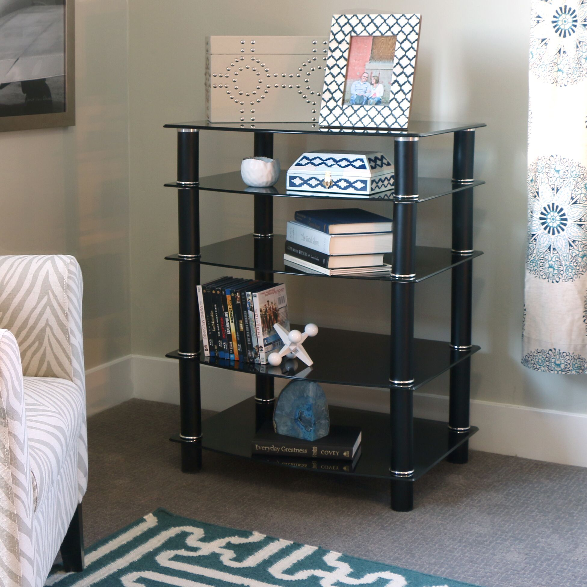 Multi-Level Component Stand with Shelves Color: Black