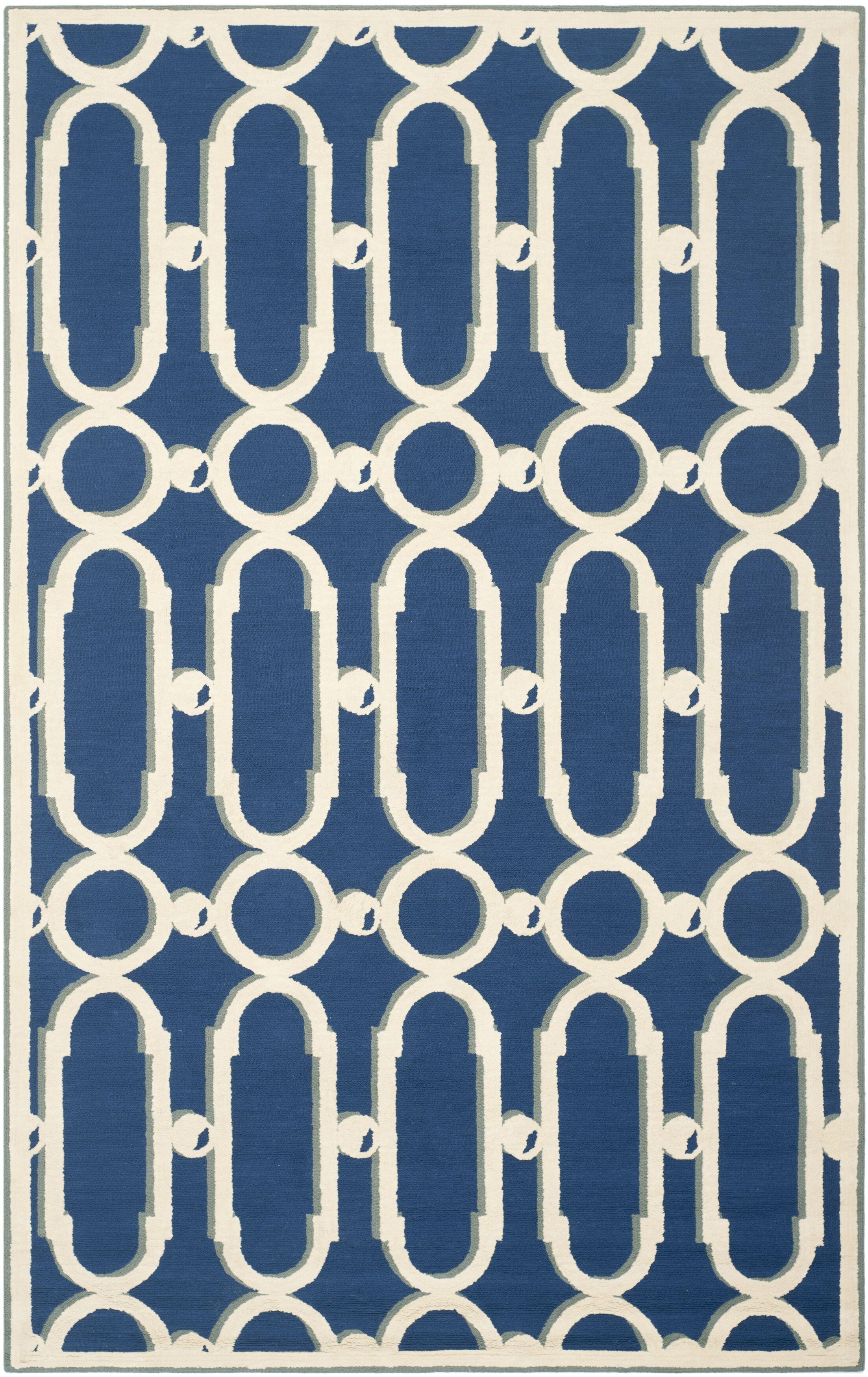 Sheeran Royal Blue/White Geometric Area Rug Rug Size: Rectangle 5'6