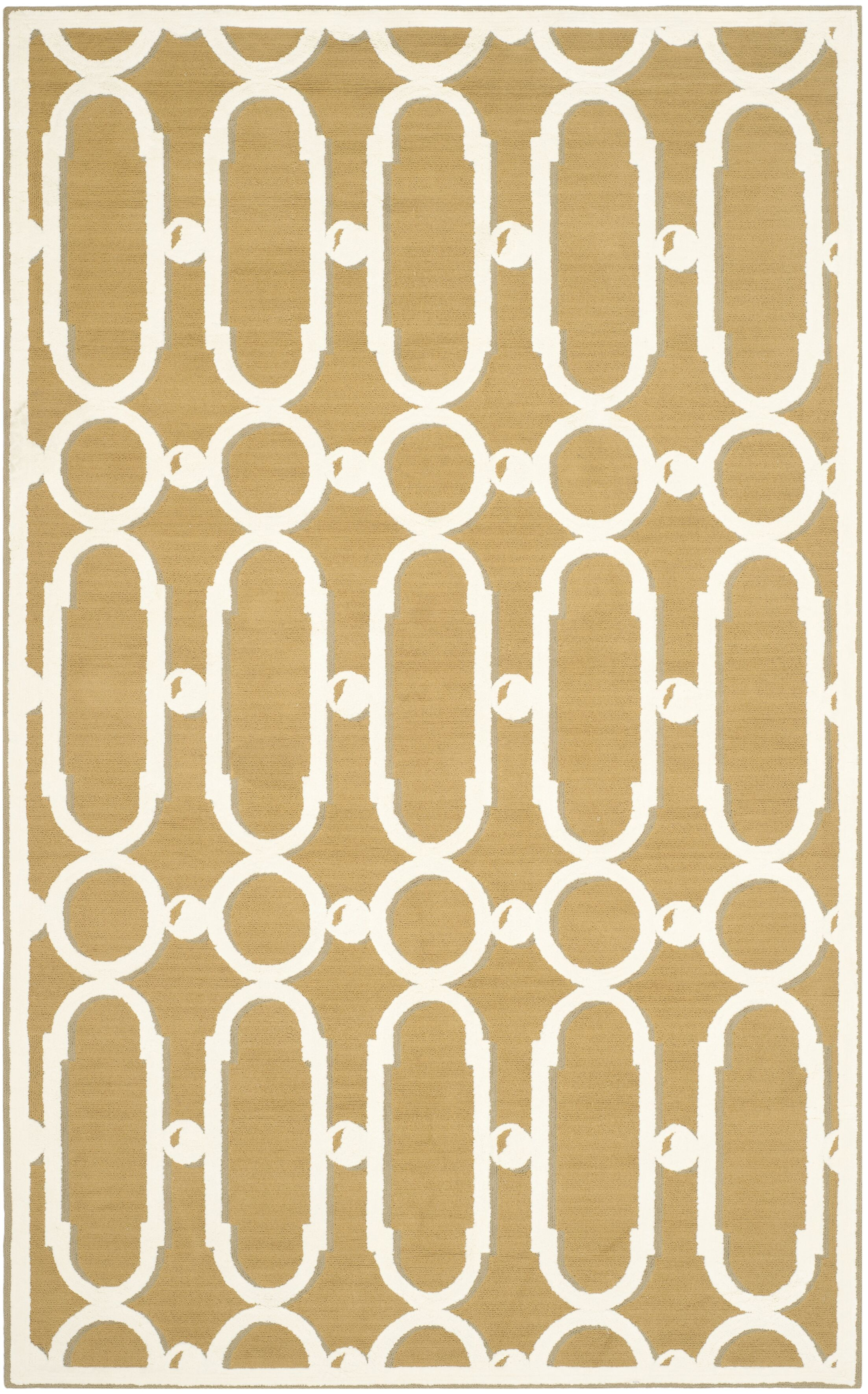 Sheeran Olive/White Geometric Area Rug Rug Size: Rectangle 5'6