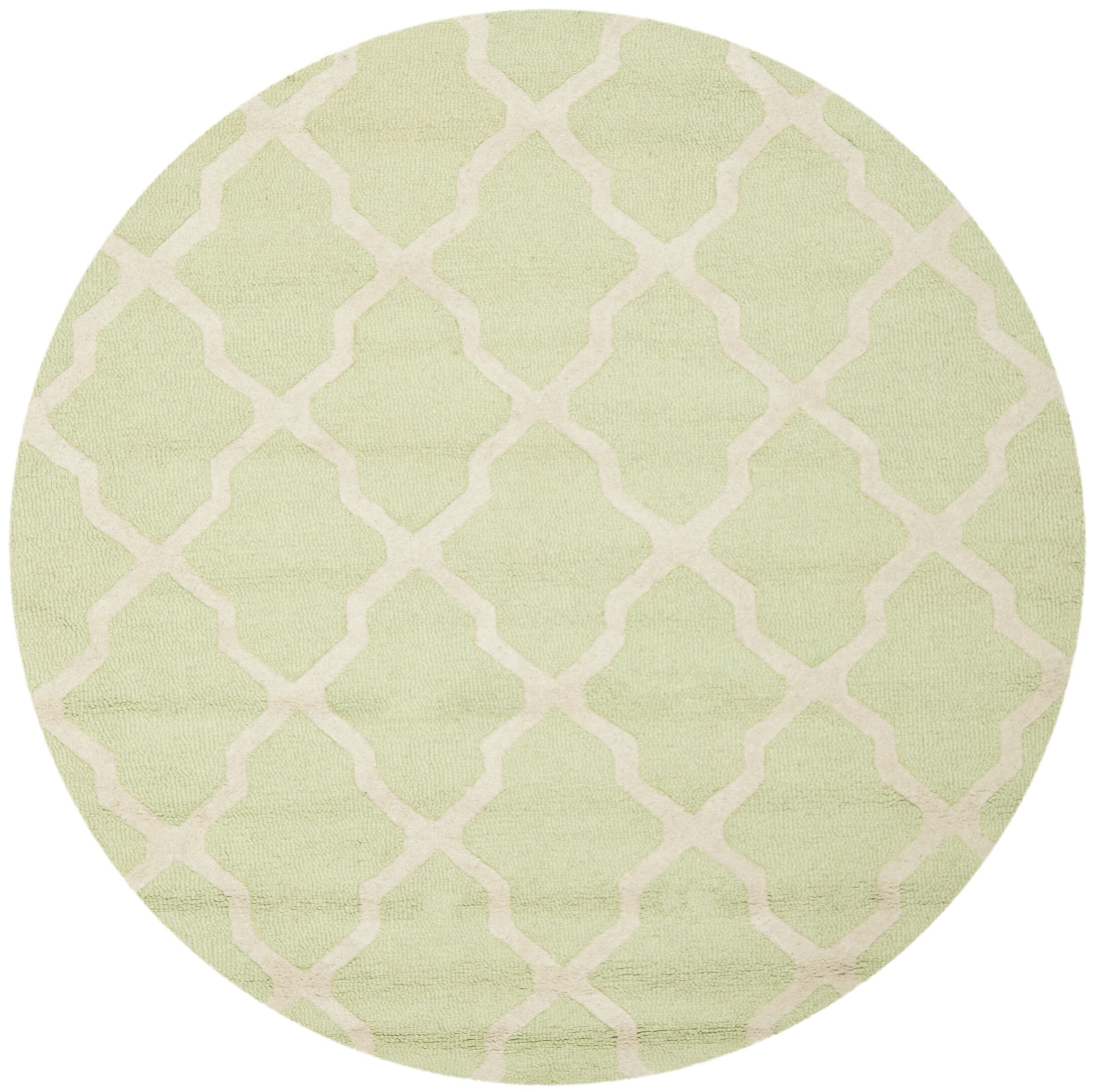 Charlenne Hand-Tufted/Hand-Hooked Light Green/Ivory Area Rug Rug Size: Round 6'
