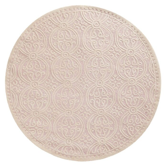 Charlenne Hand-Tufted Light Pink/Ivory Area Rug Rug Size: Round 8'