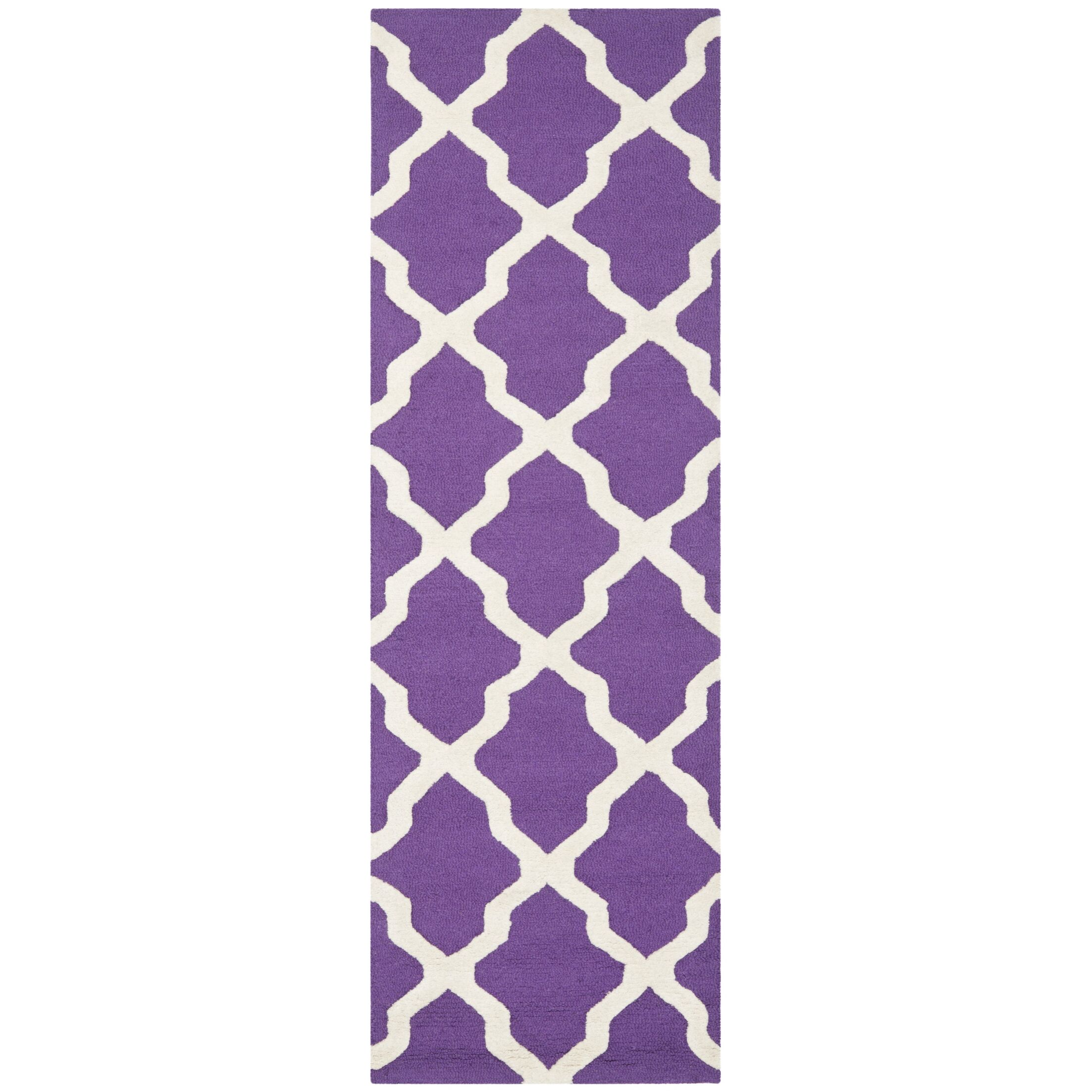 Charlenne Hand-Tufted Purple/Ivory Area Rug Rug Size: Runner 2'6