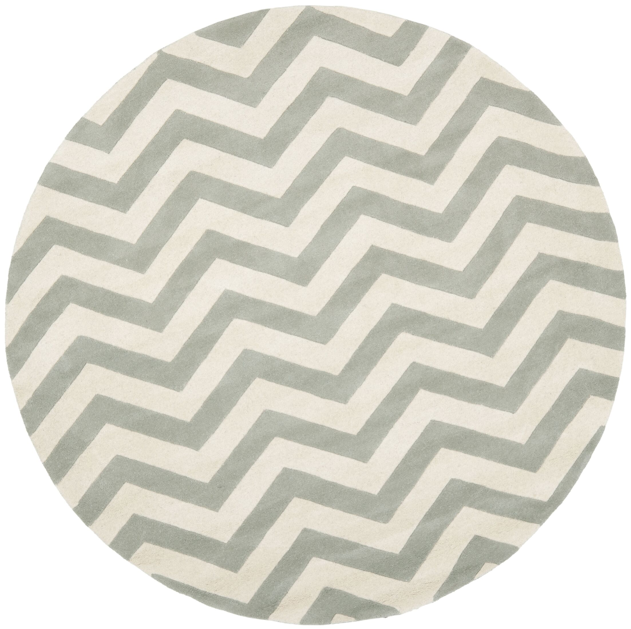 Wilkin Chevron Hand-Tufted Wool Gray/Ivory Area Rug Rug Size: Round 9'