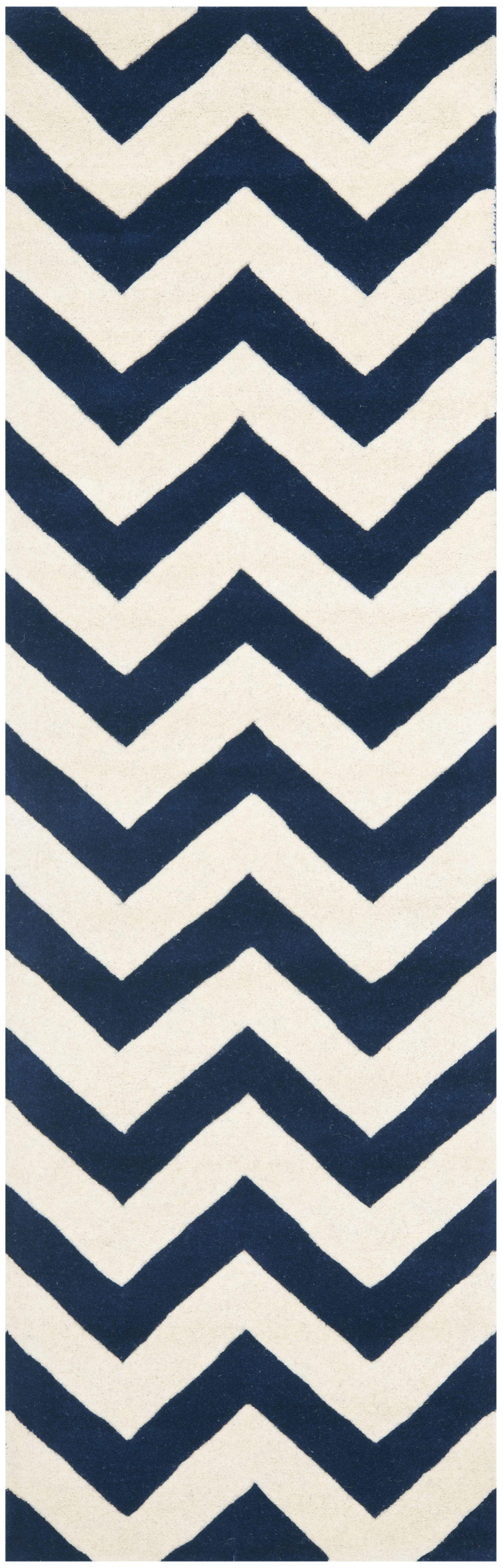 Wilkin Hand Tufted Wool Dark Blue/Ivory Area Rug Rug Size: Runner 2'3