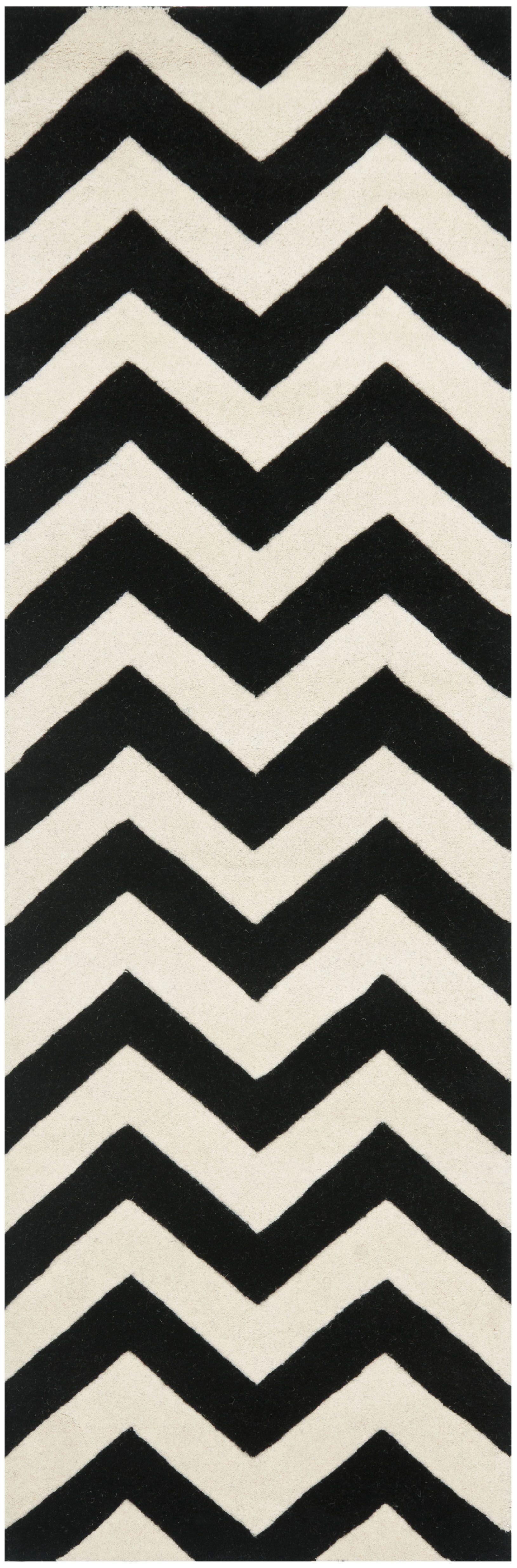 One-of-Kind Wilkin Chevron Hand-Tufted Wool Ivory/Black Area Rug Rug Size: Runner 2'3