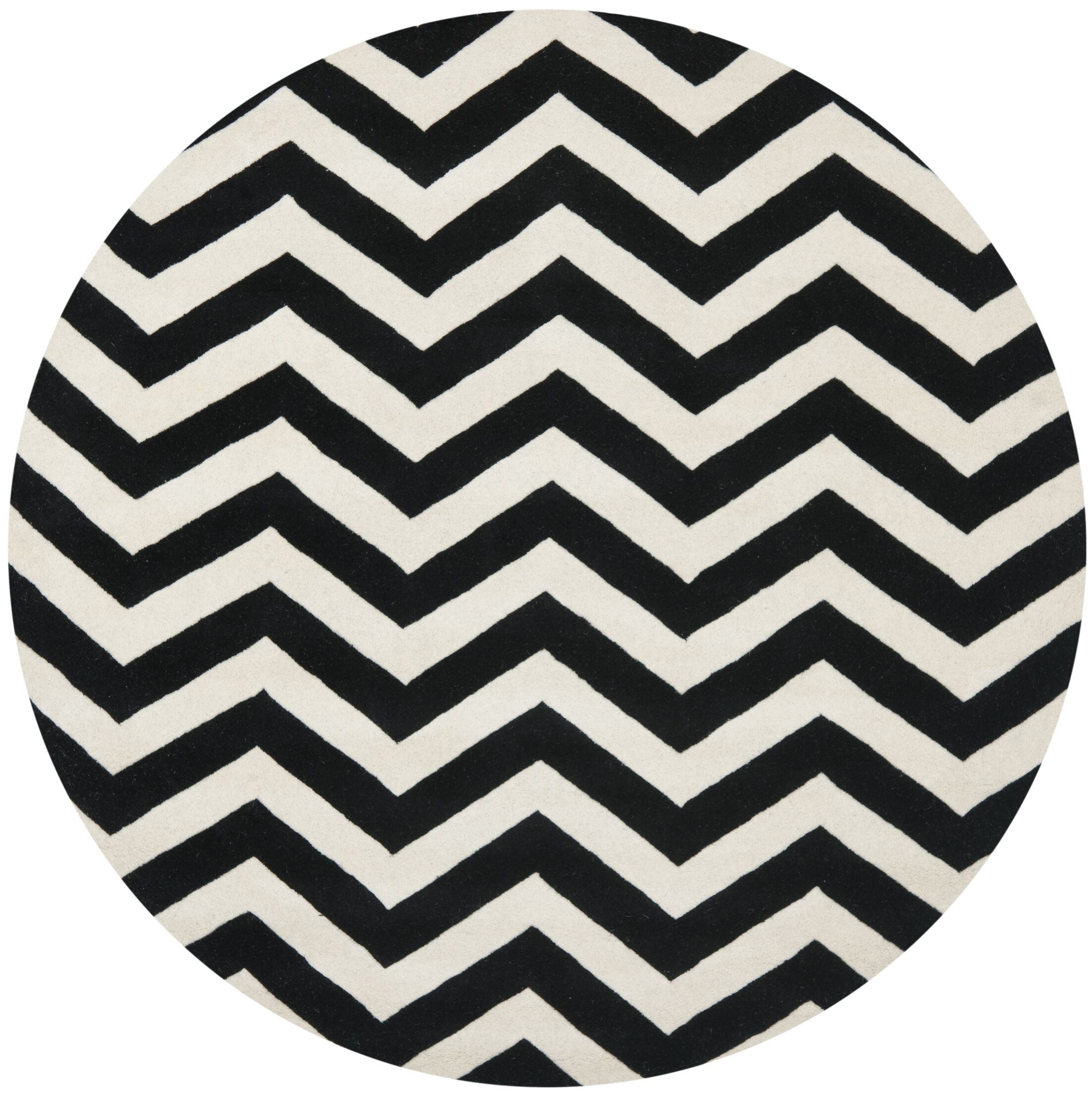 One-of-Kind Wilkin Chevron Hand-Tufted Wool Ivory/Black Area Rug Rug Size: Round 7'