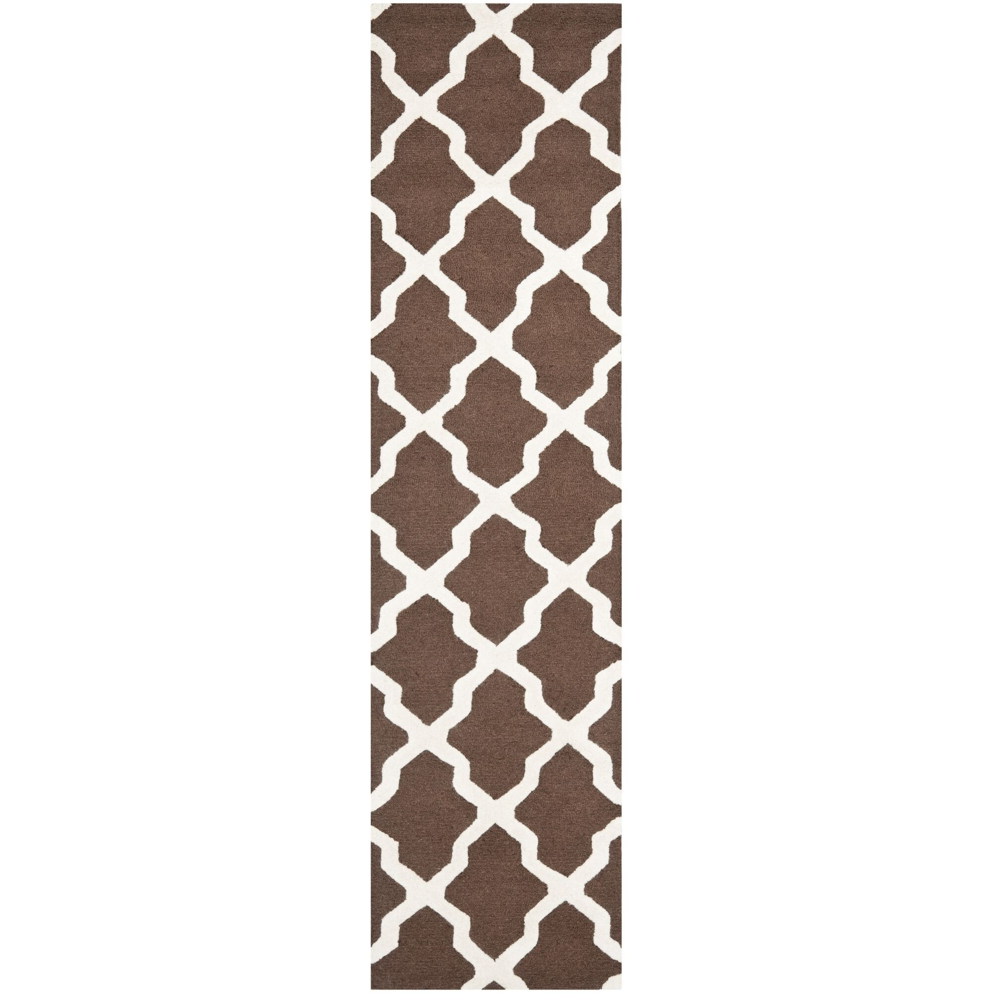 Charlenne Hand-Tufted Wool Dark Brown/Ivory Area Rug Rug Size: Runner 2'6
