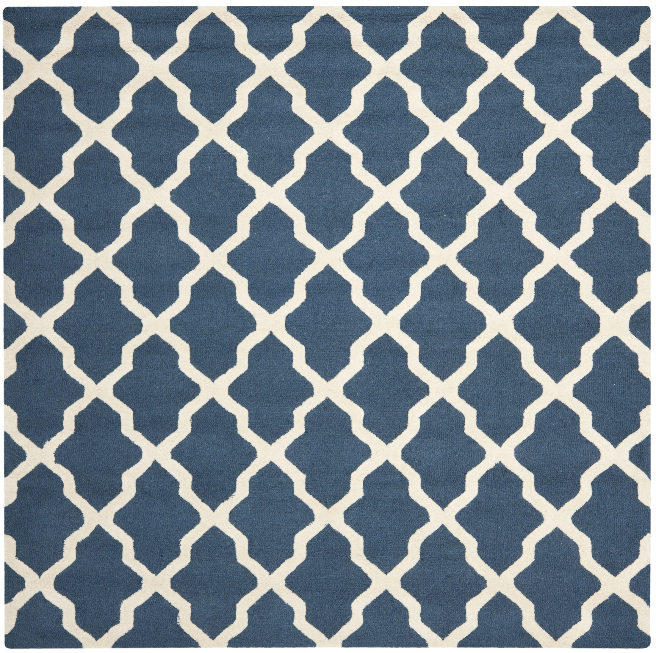 Charlenne Lattice Handand-Tufted Wool Navy Blue Area Rug Rug Size: Square 8'