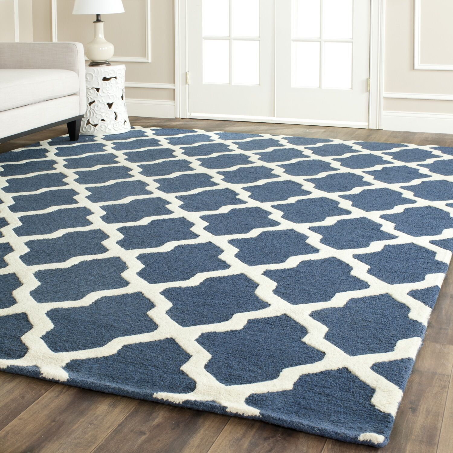 Charlenne Lattice Handand-Tufted Wool Navy Blue Area Rug Rug Size: Rectangle 11'6