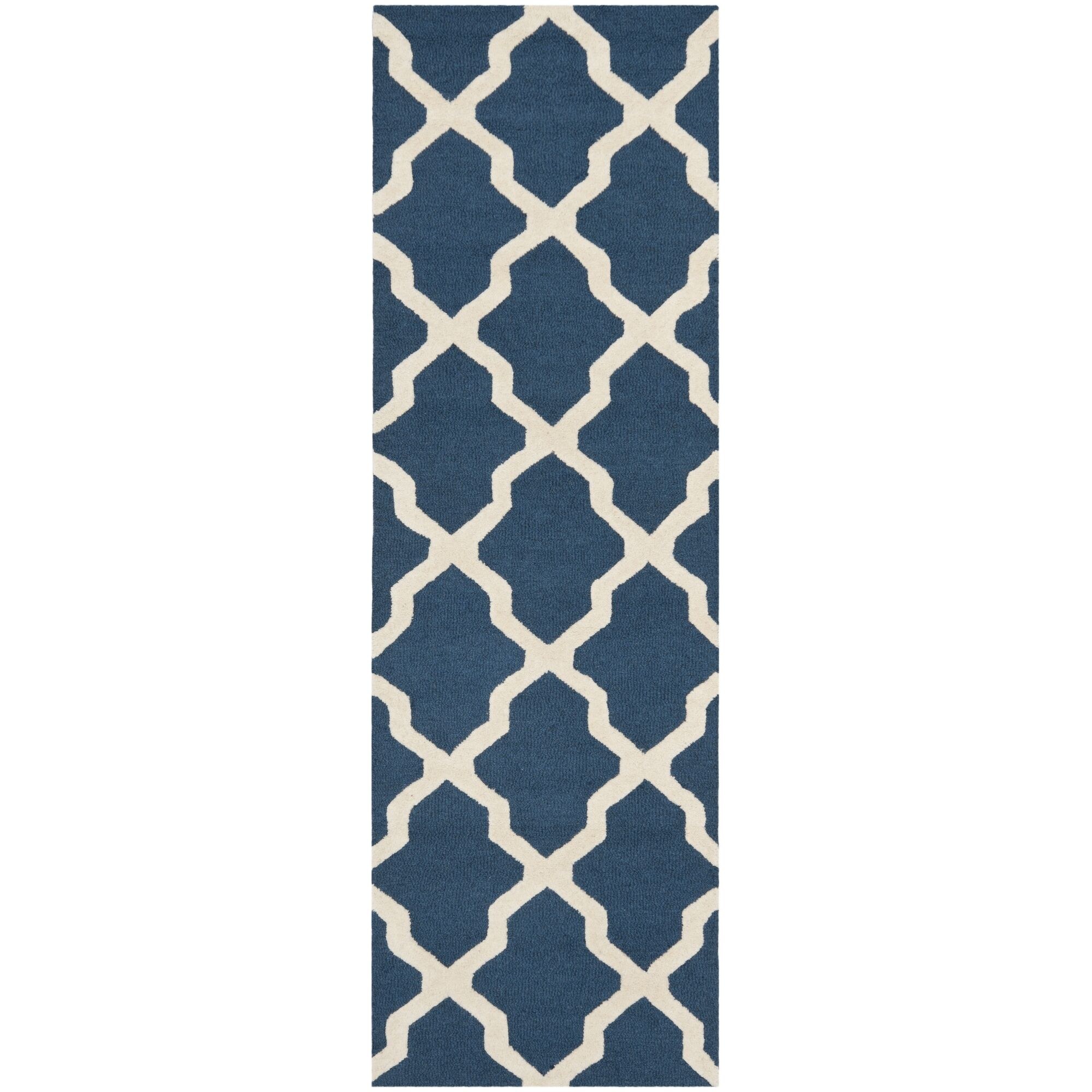 Charlenne Lattice Handand-Tufted Wool Navy Blue Area Rug Rug Size: Runner 2'6