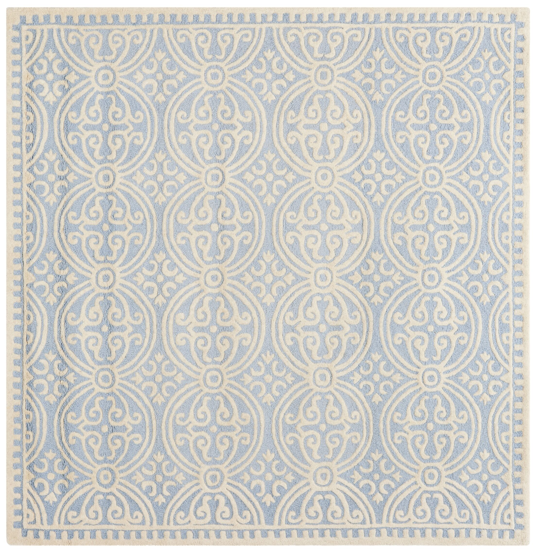 Martins Hand-Tufted Wool Light Blue/Ivory Area Rug Rug Size: Square 10'