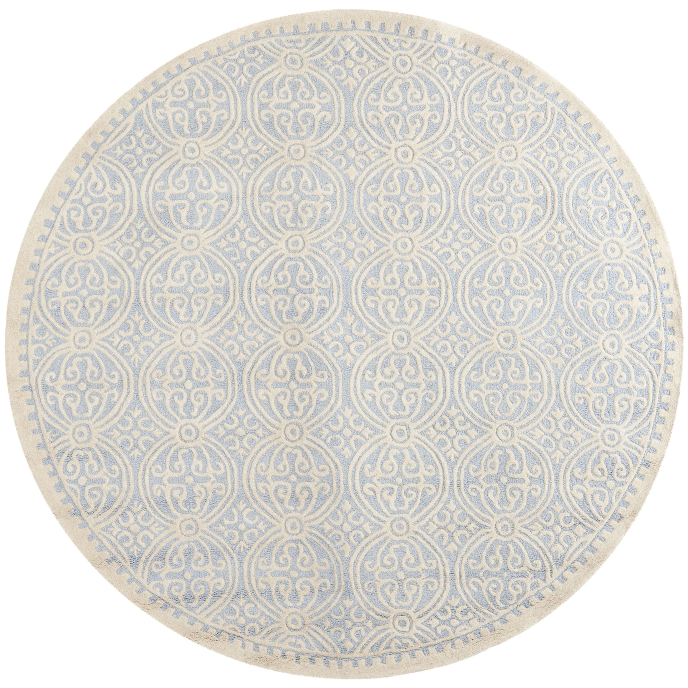 Martins Hand-Tufted Wool Light Blue/Ivory Area Rug Rug Size: Round 4'