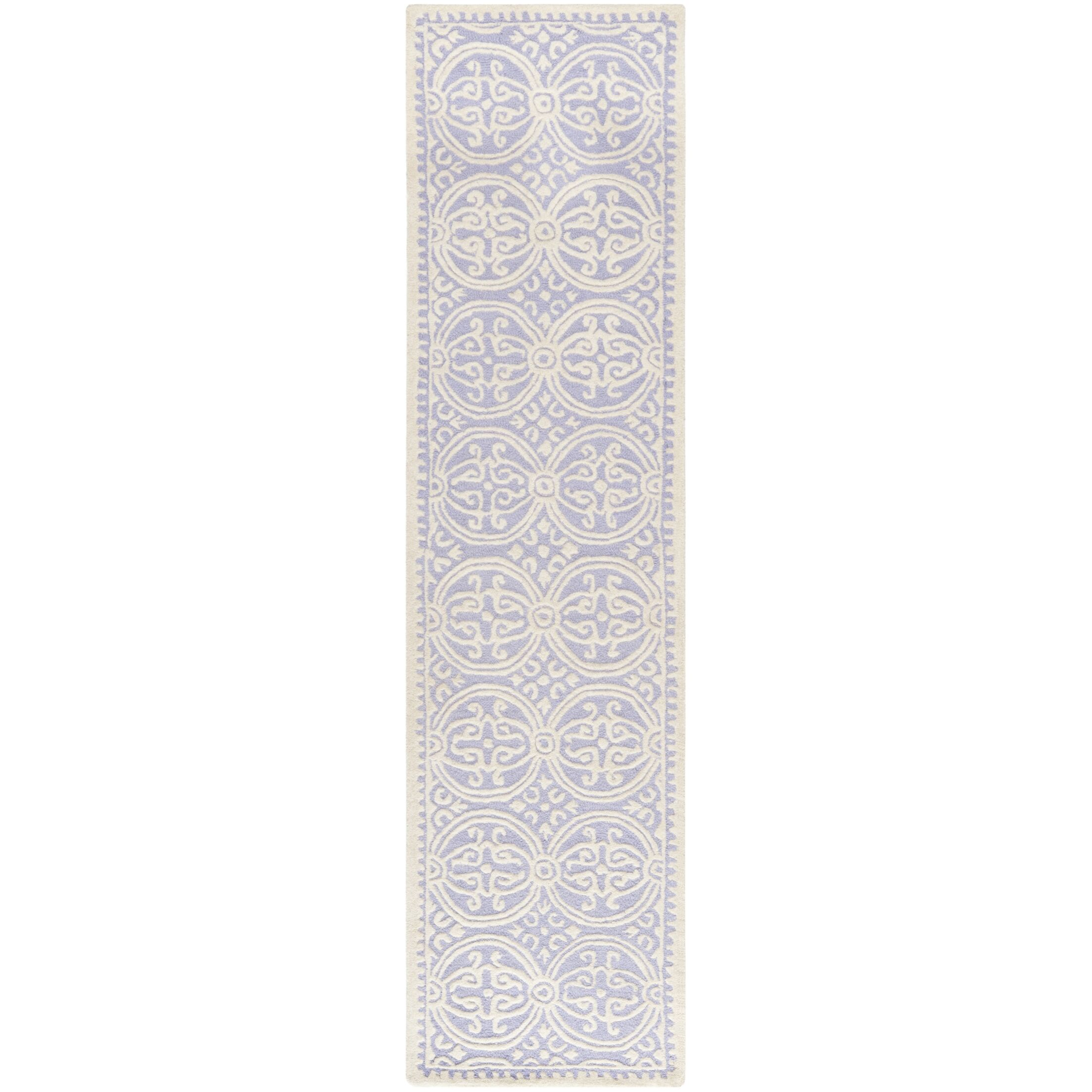 Martins Hand-Tufted Wool Lavender/Ivory Area Rug Rug Size: Runner 2'6