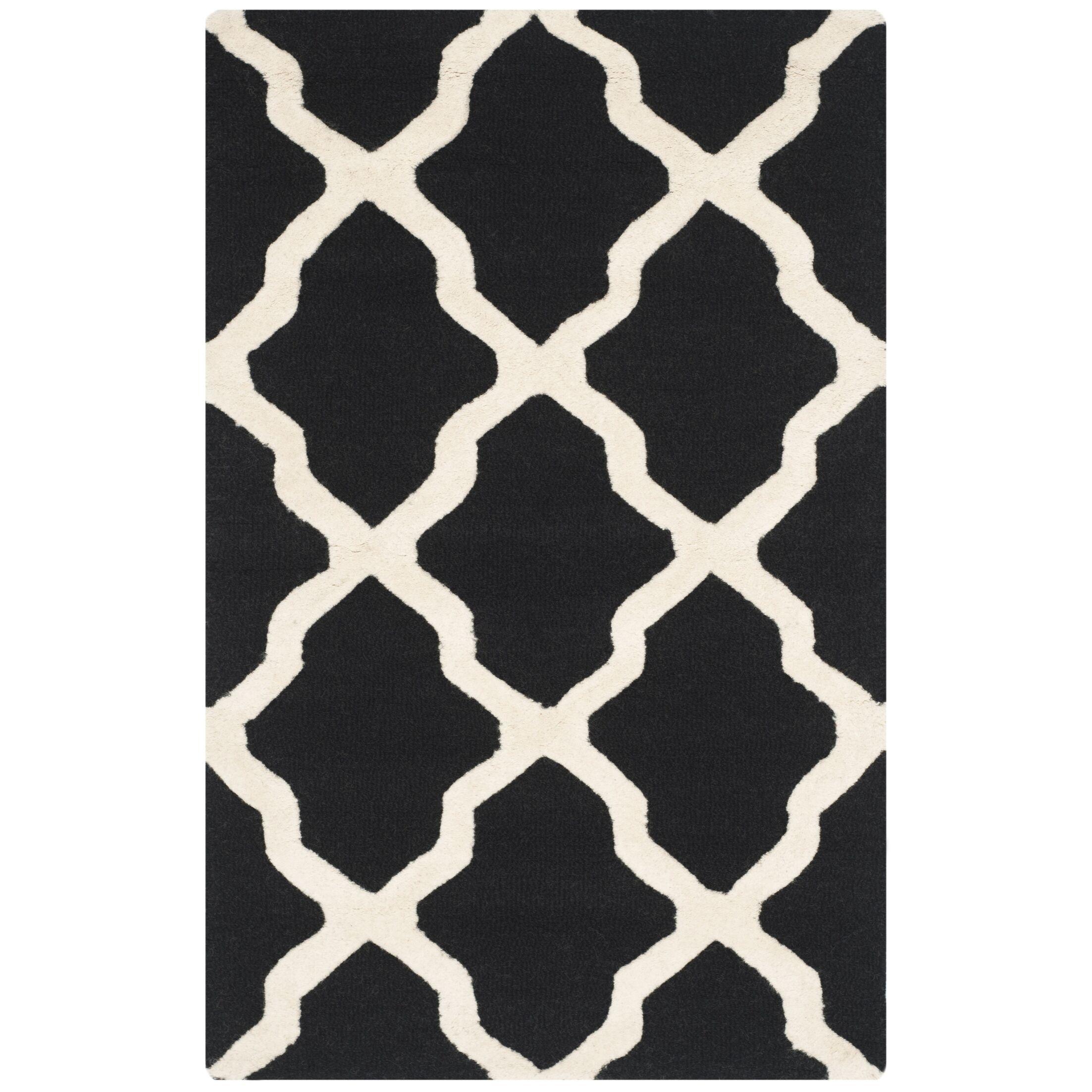 Charlenne Black & Ivory Area Rug Rug Size: Rectangle 10' x 14'