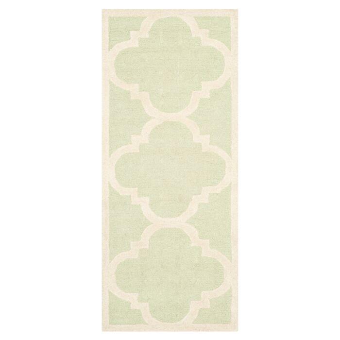 Charlenne Wool Light Green / Ivory Area Rug Rug Size: Runner 2'6
