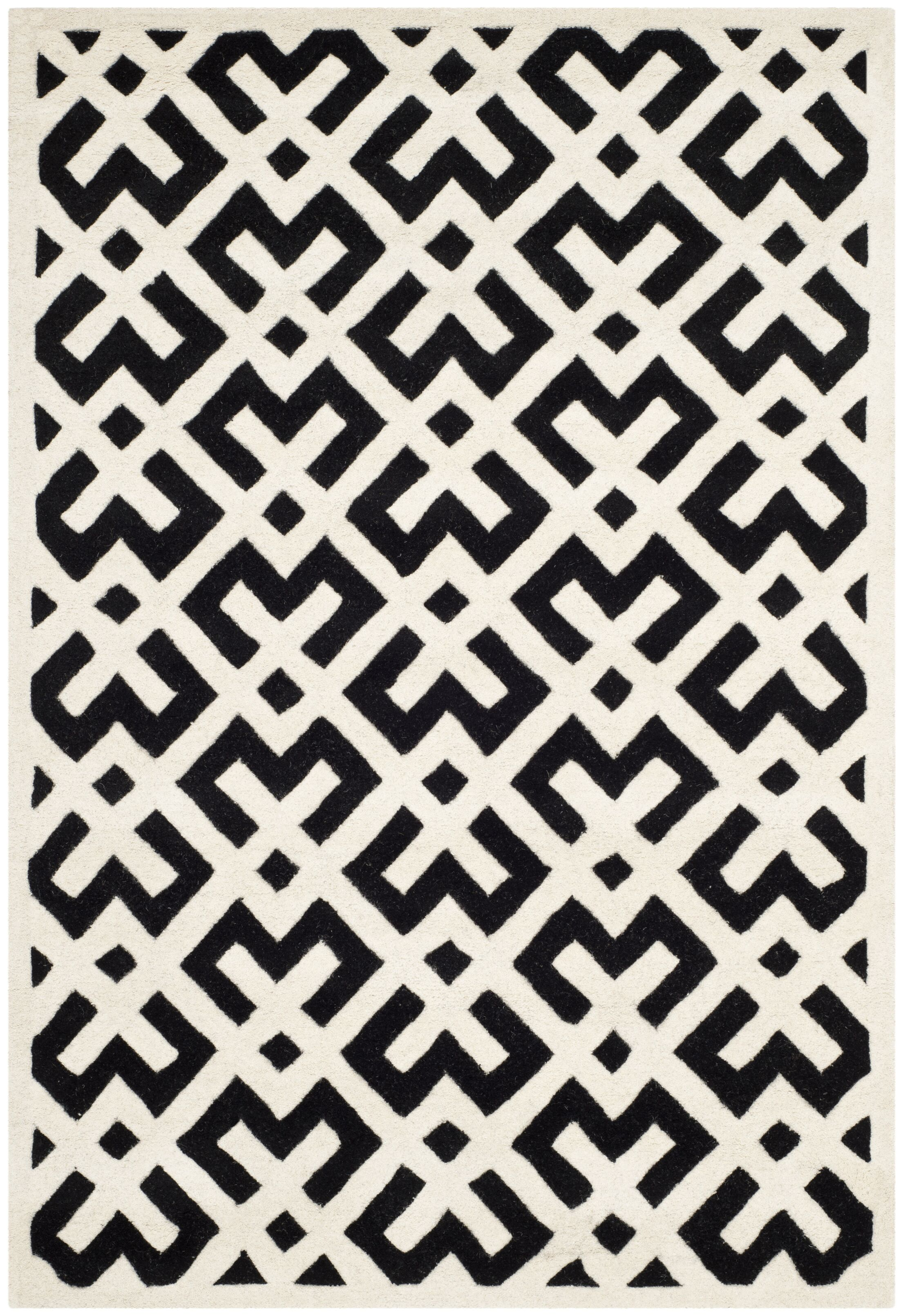 Wilkin Black / Ivory Area Rug Rug Size: Rectangle 4' x 6'