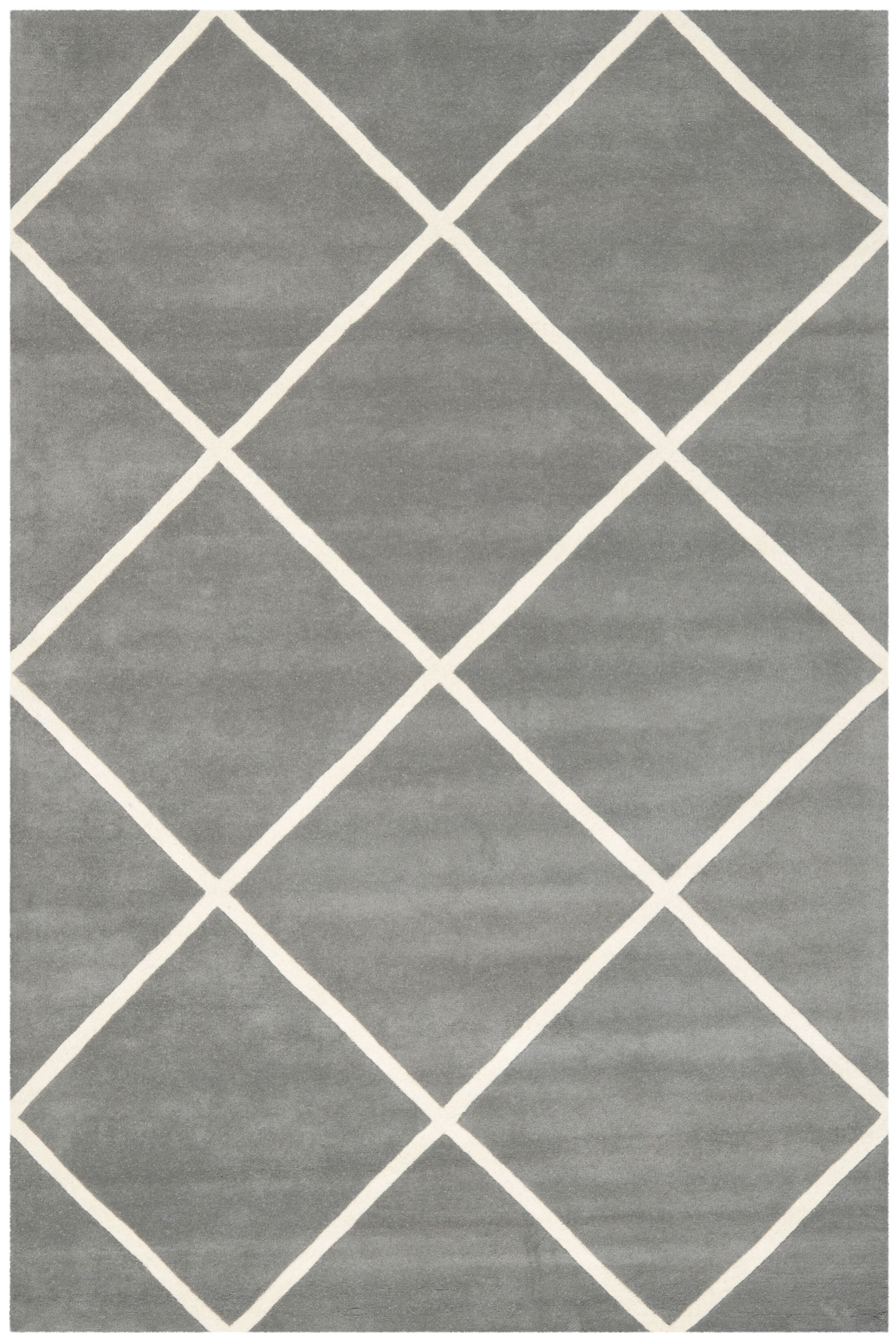 Wilkin Hand-Tufted Wool Dark Gray/Ivory Area Rug Rug Size: Rectangle 3' x 5'