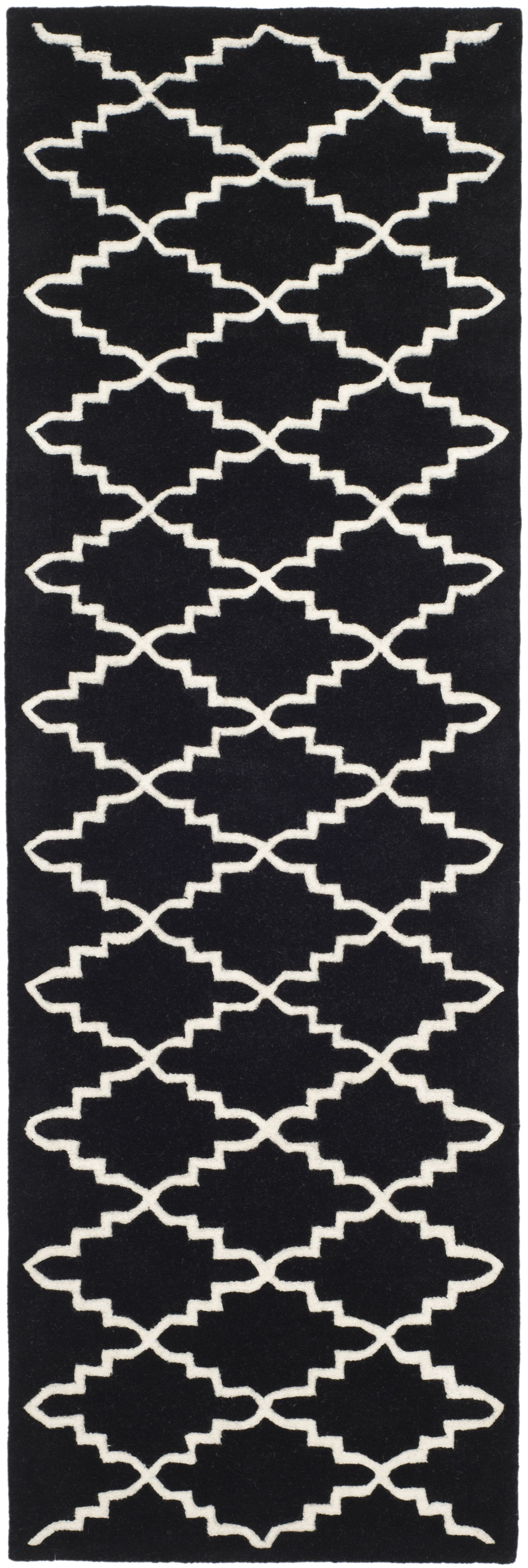 Wilkin Hand-Tufted Wool Black/Ivory Area Rug Rug Size: Runner 2'3