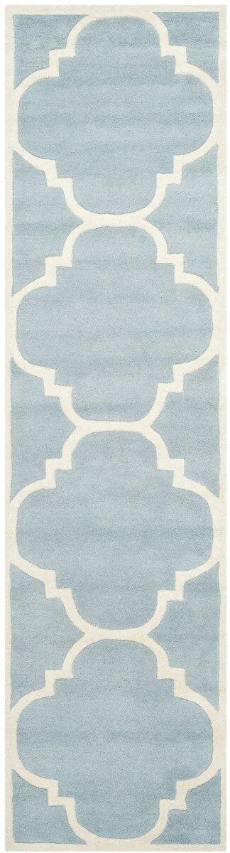 Wilkin Hand-Tufted Blue/Ivory Area Rug Rug Size: Runner 2'3