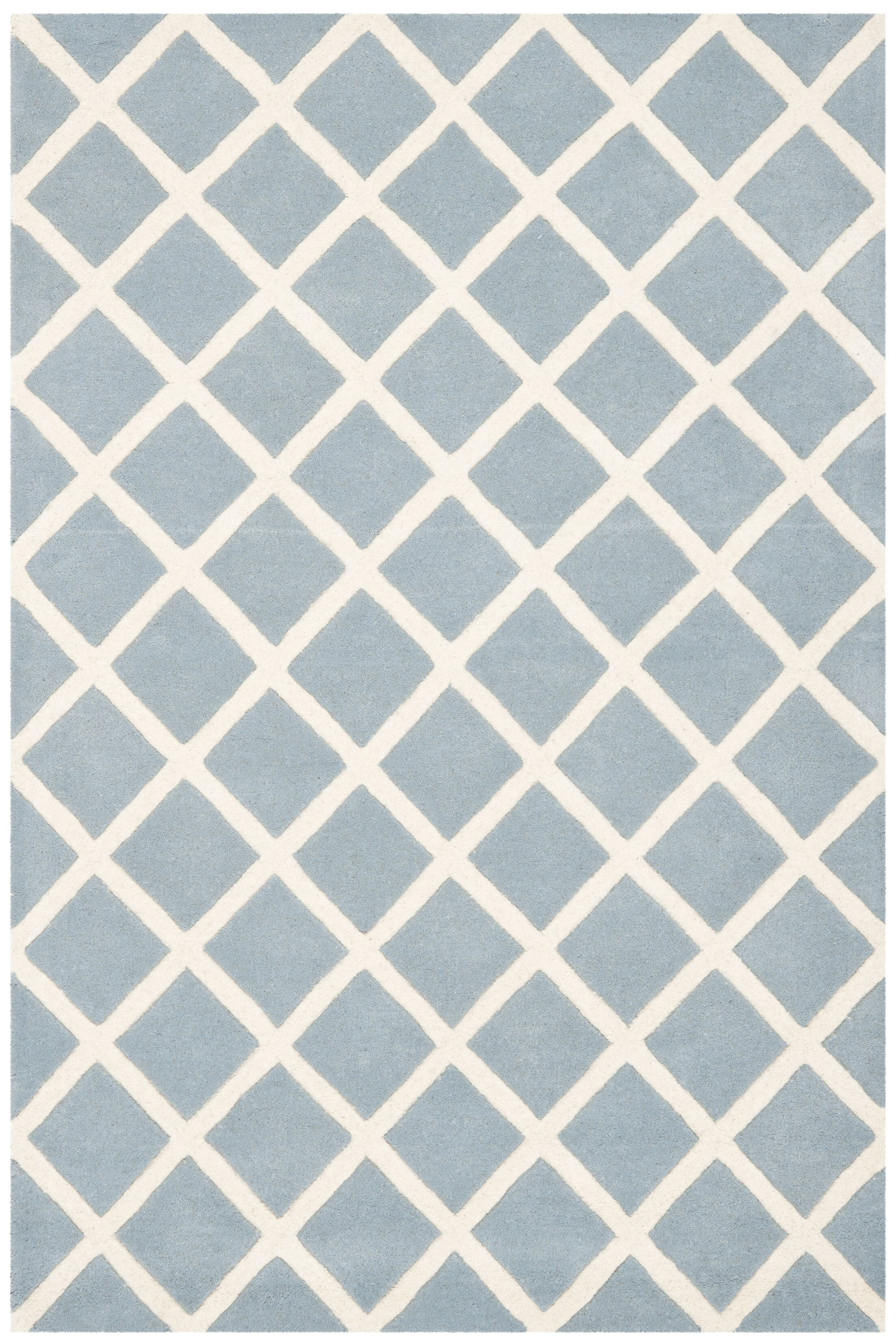 Wilkin Hand-Tufted Light Blue/Ivory Area Rug Rug Size: Rectangle 3' x 5'