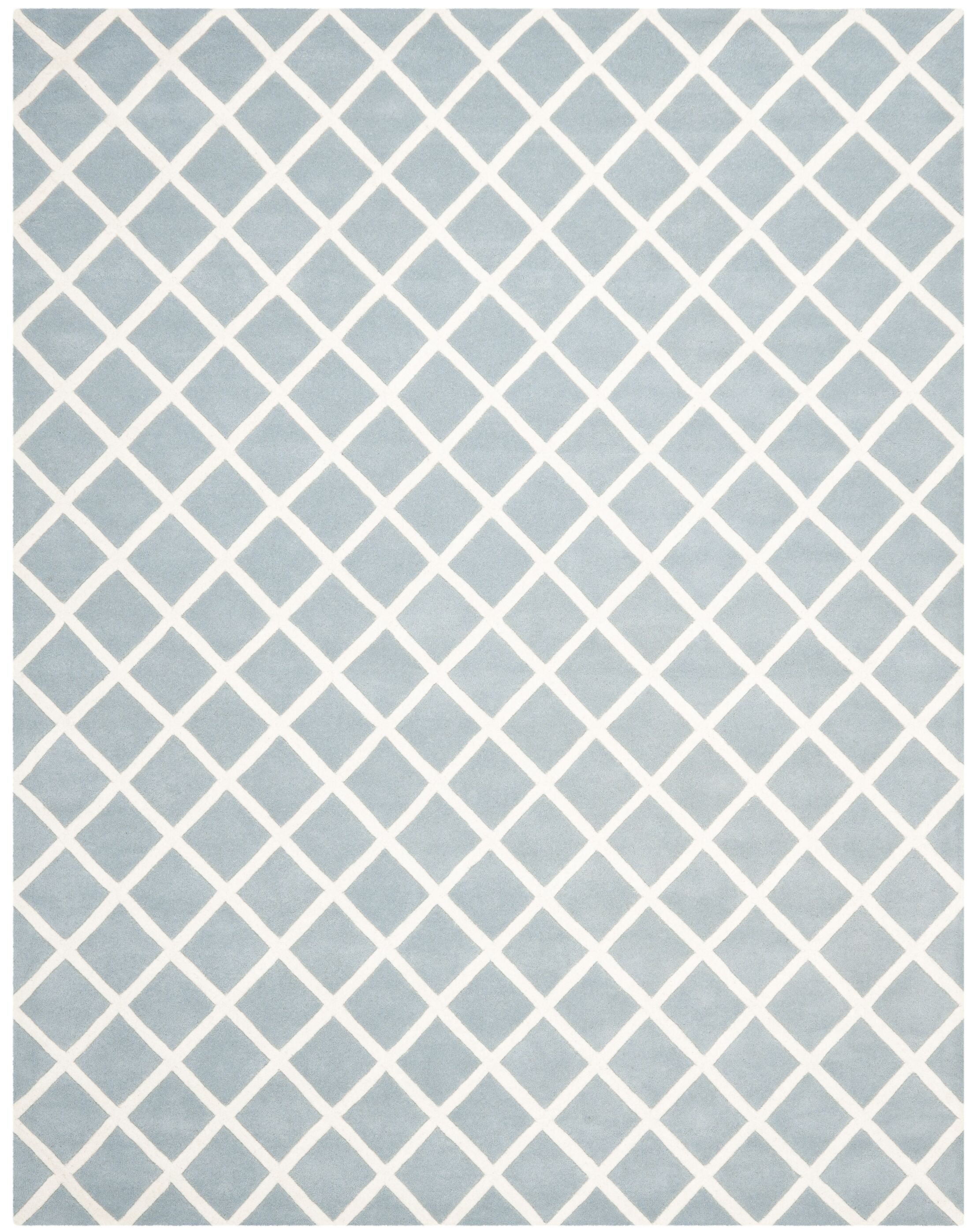 Wilkin Hand-Tufted Light Blue/Ivory Area Rug Rug Size: Rectangle 8'9