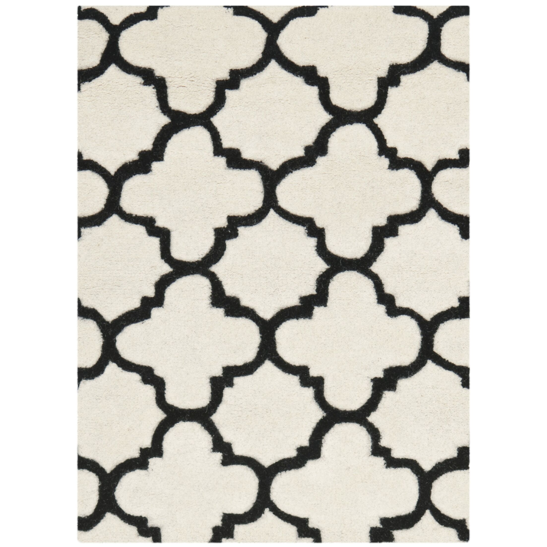 Wilkin Hand-Tufted Ivory/Black Area Rug Rug Size: Rectangle 8' x 10'