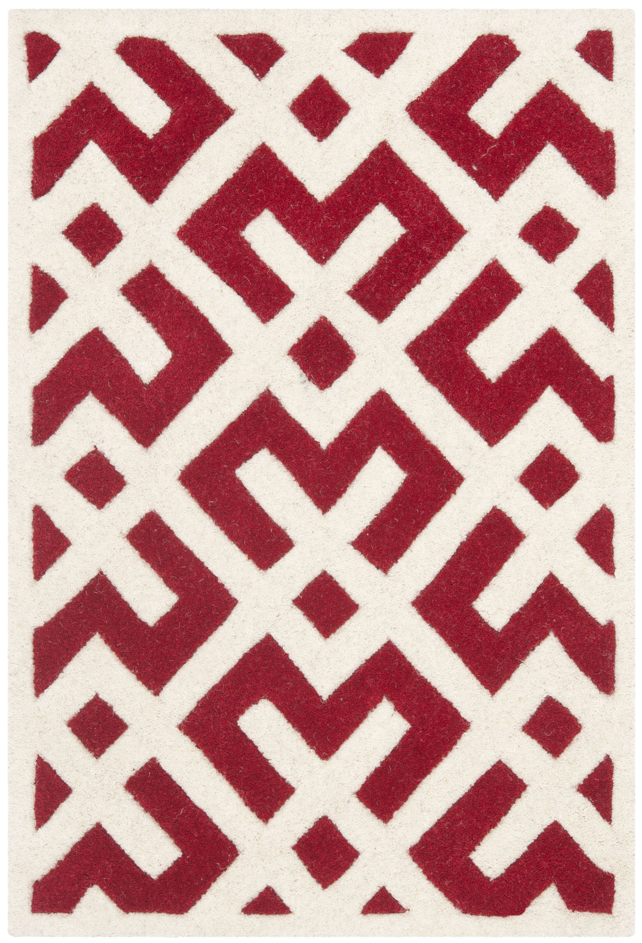 Wilkin Hand-Tufted Red/Ivory Area Rug Rug Size: Rectangle 8' x 10'