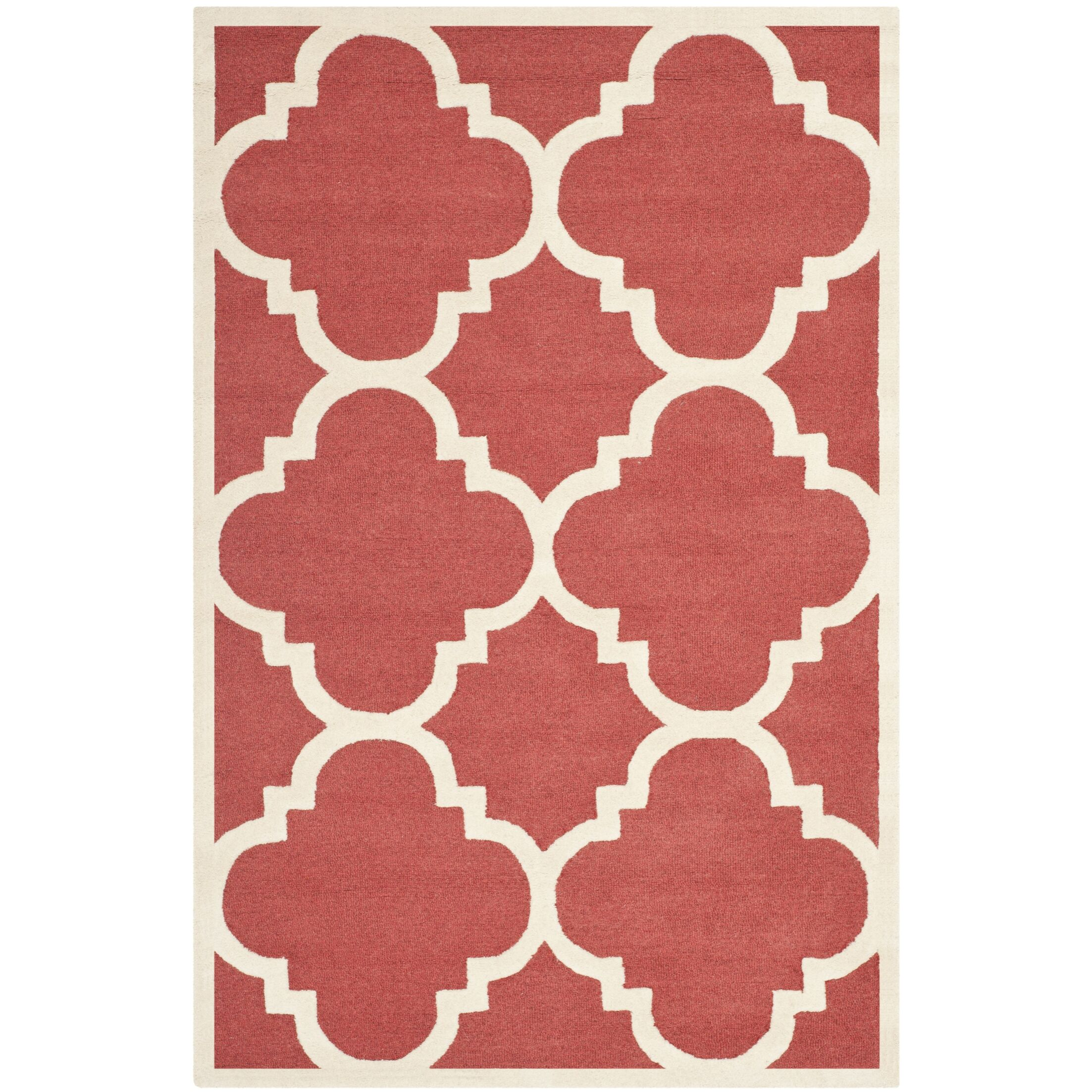 Martins Hand-Tufted Rust/Ivory Area Rug Rug Size: Rectangle 9' x 12'