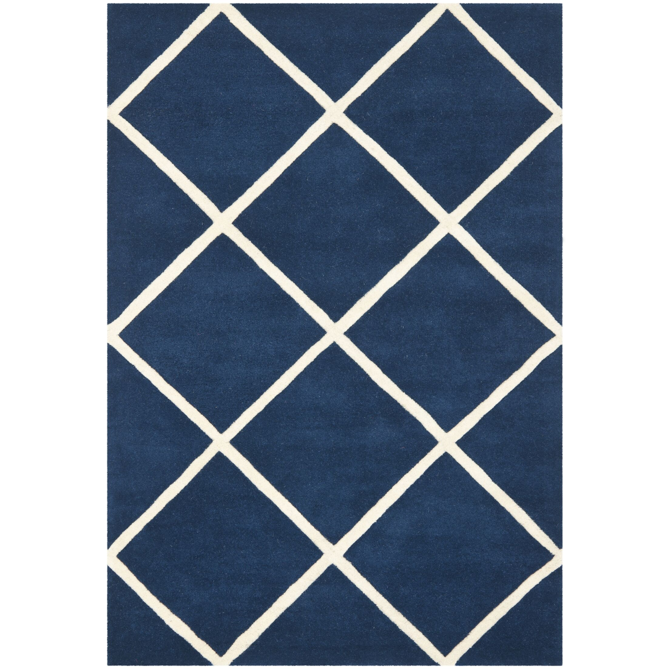 Wilkin Dark Blue & Ivory Area Rug Rug Size: Rectangle 8'9