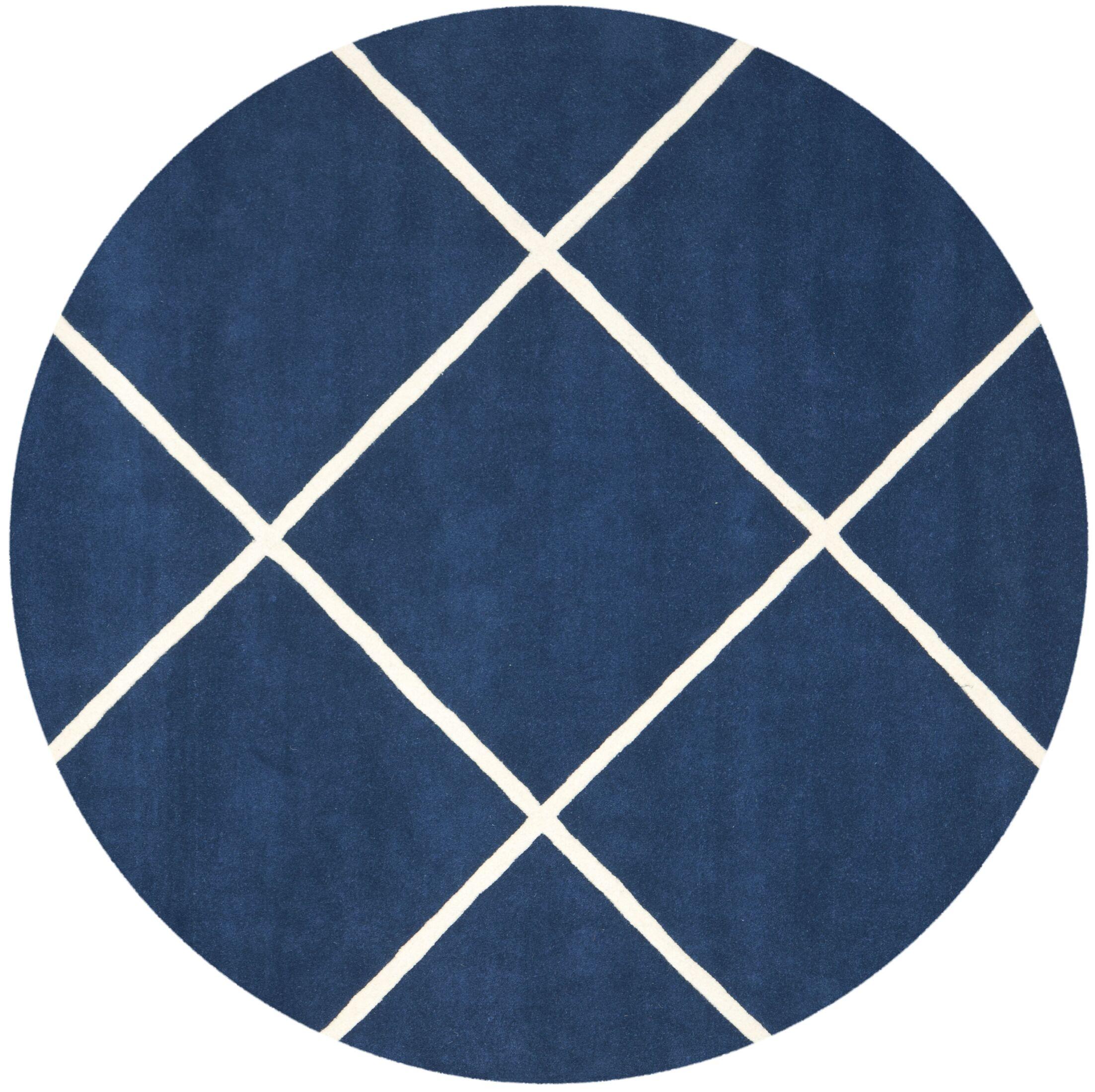 Wilkin Dark Blue & Ivory Area Rug Rug Size: Round 7'
