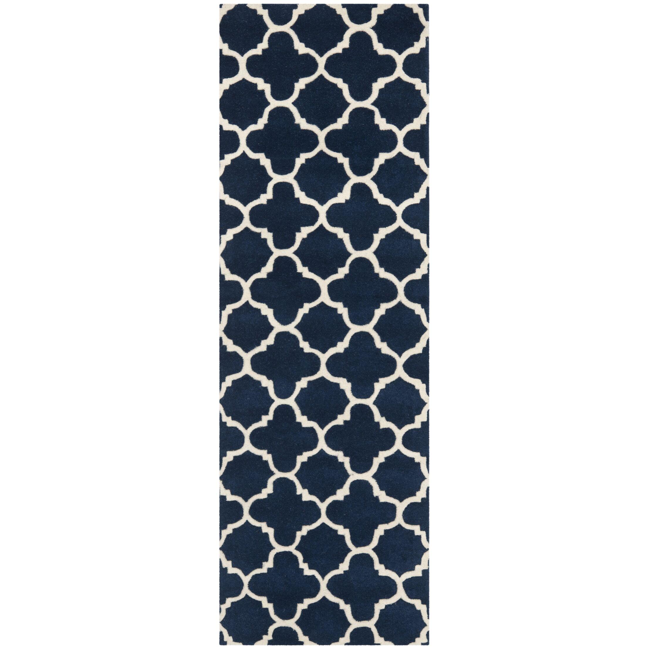 Wilkin Circle Dark Blue & Ivory Area Rug Rug Size: Runner 2'3