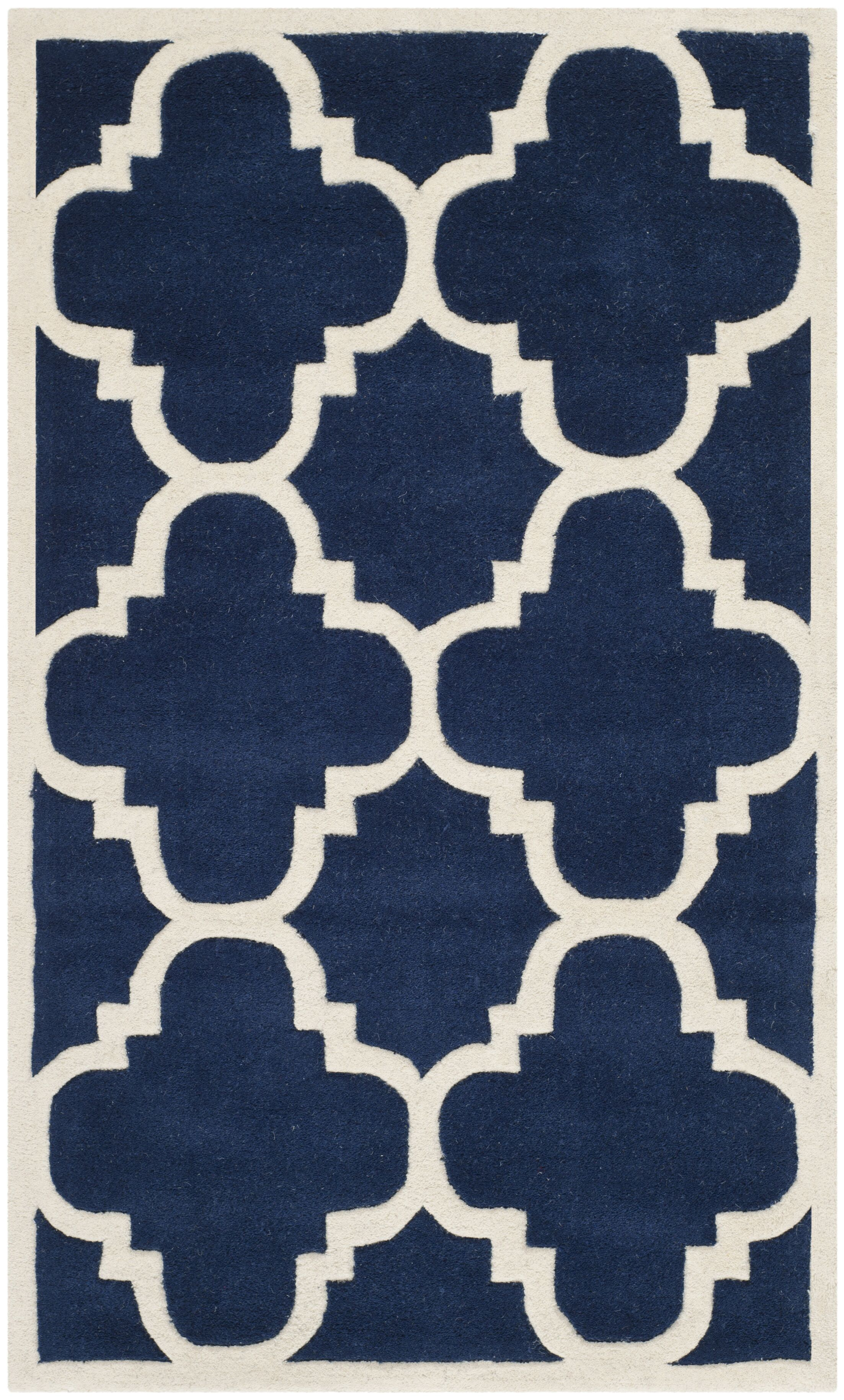 Wilkin Hand-Woven Dark Blue Area Rug Rug Size: Rectangle 3' x 5'