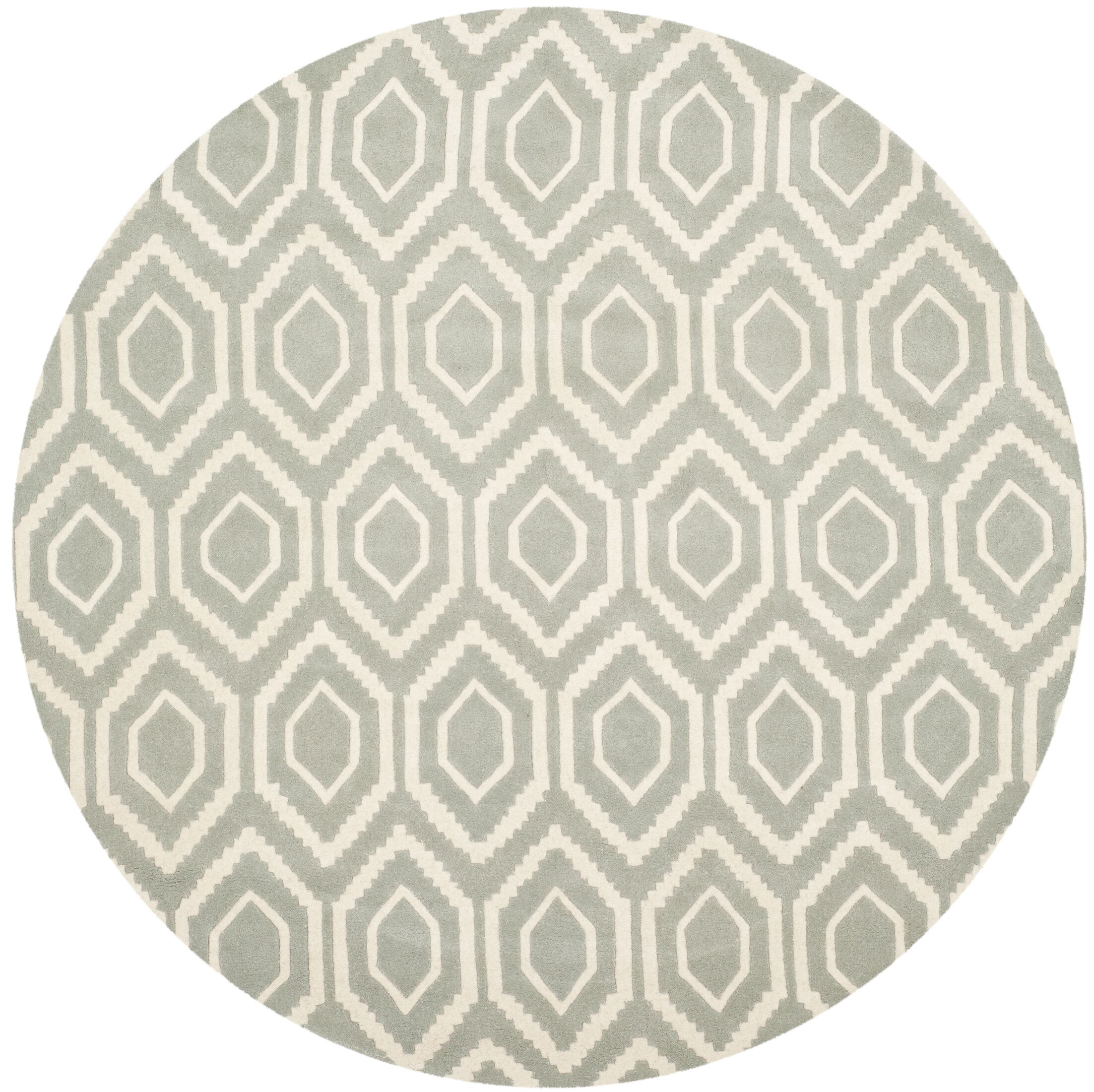 Wilkin Hand-Tufted Gray/Ivory Area Rug Rug Size: Round 7'