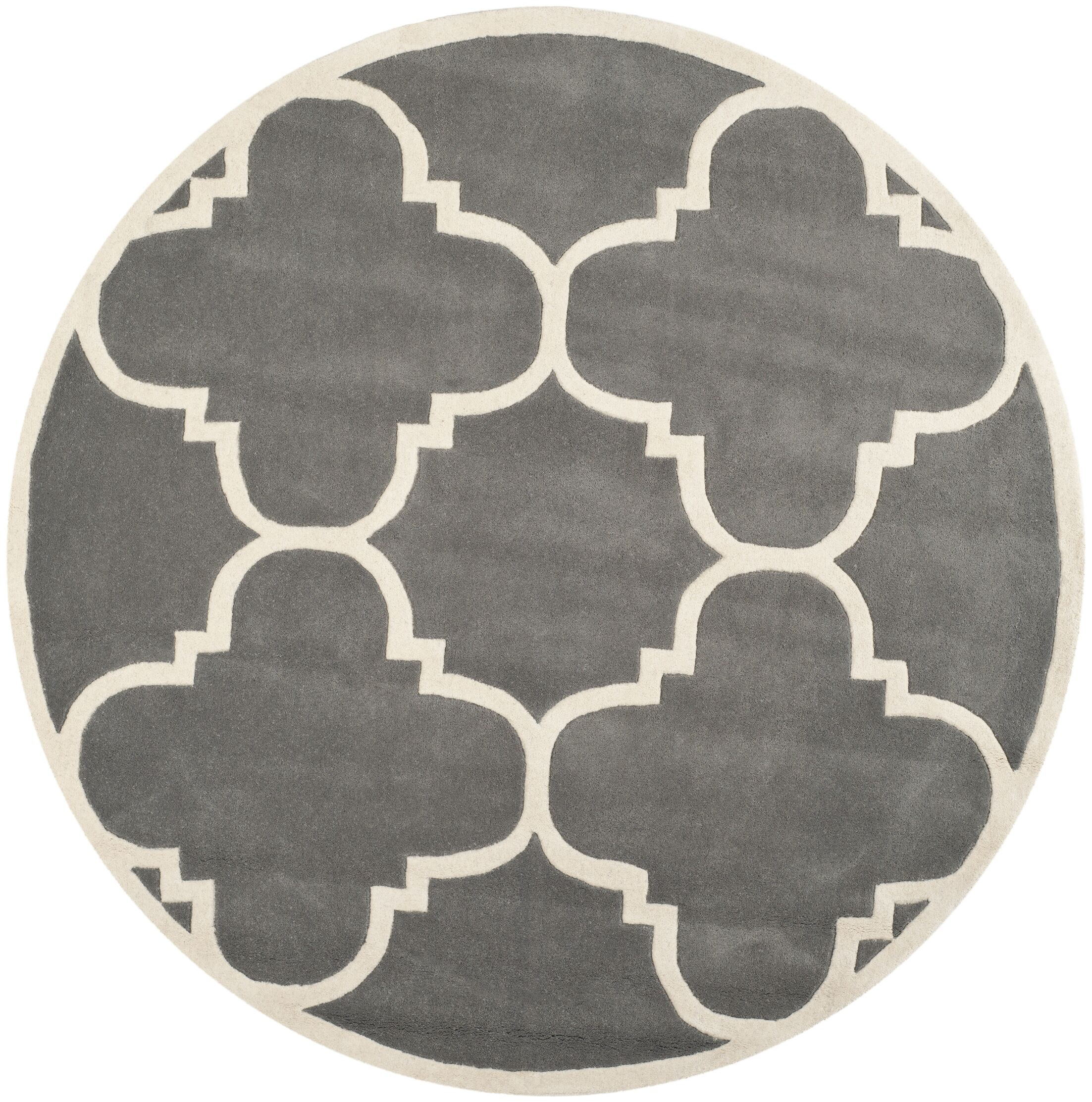 Wilkin Hand-Tufted Wool Dark Gray Area Rug Rug Size: Round 9'